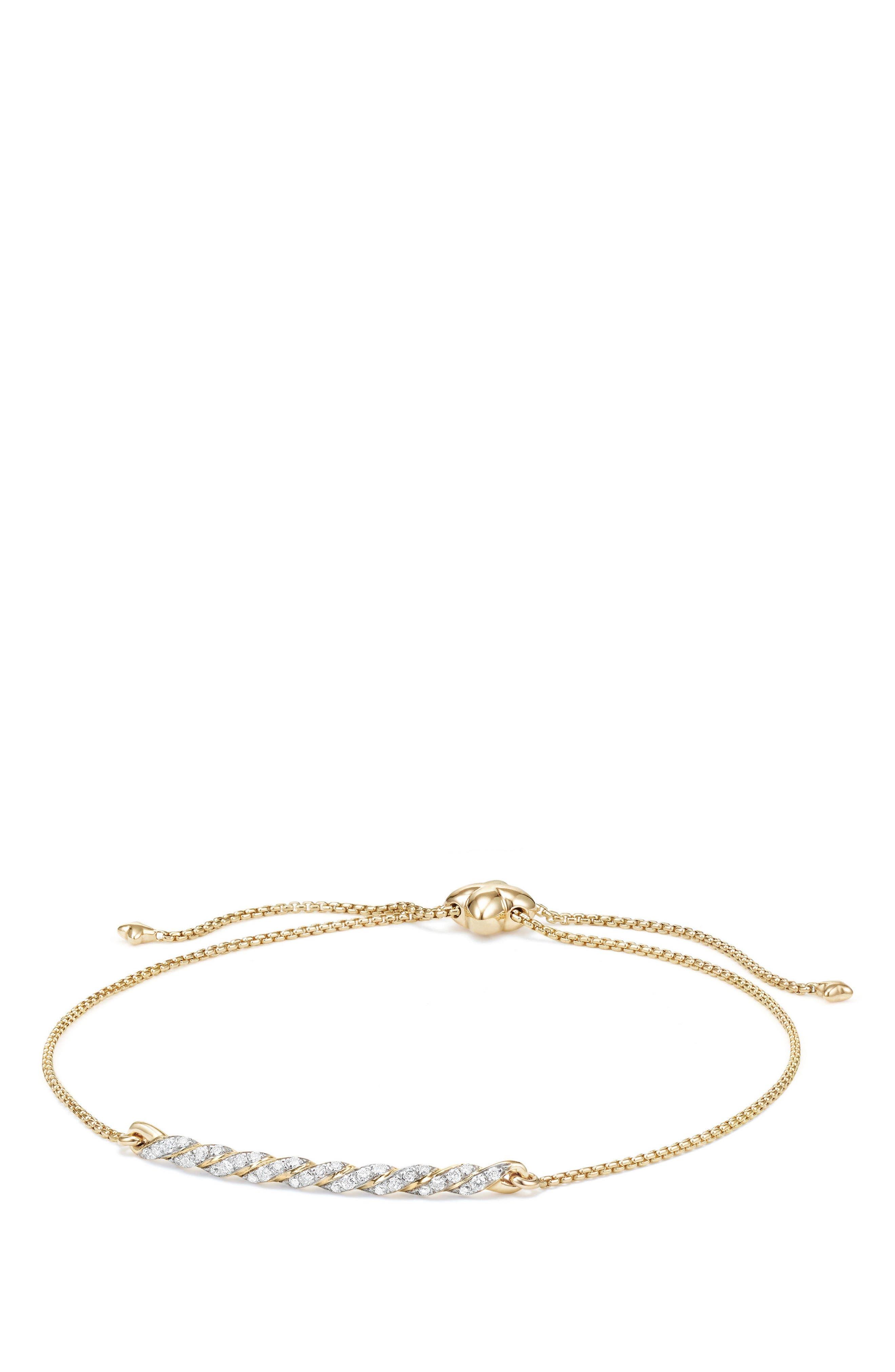David Yurman Paveflex Station Bracelet with Diamonds in 18K Gold