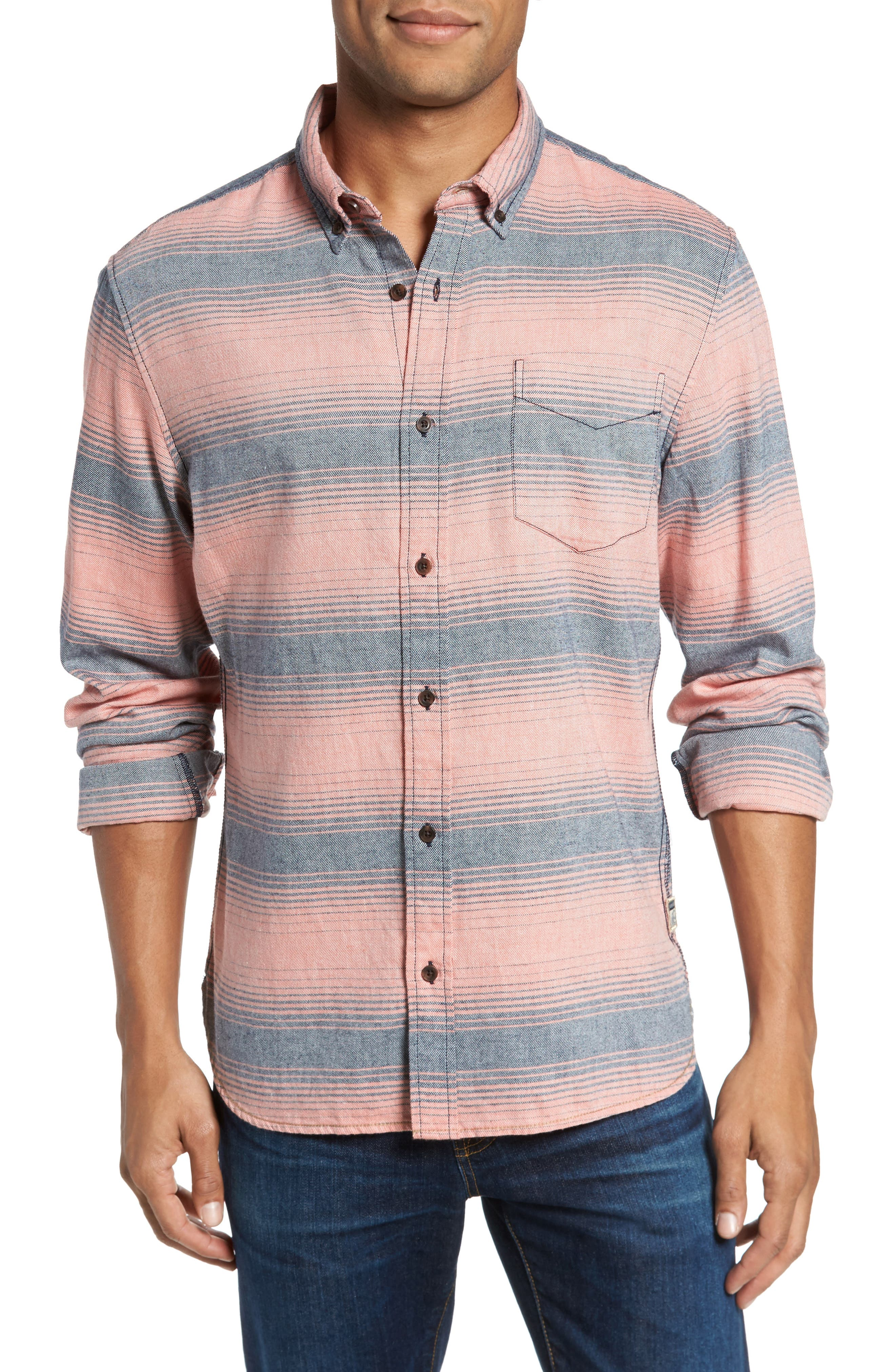 Brushed Stripe Sport Shirt,                             Main thumbnail 1, color,                             Hot Coral