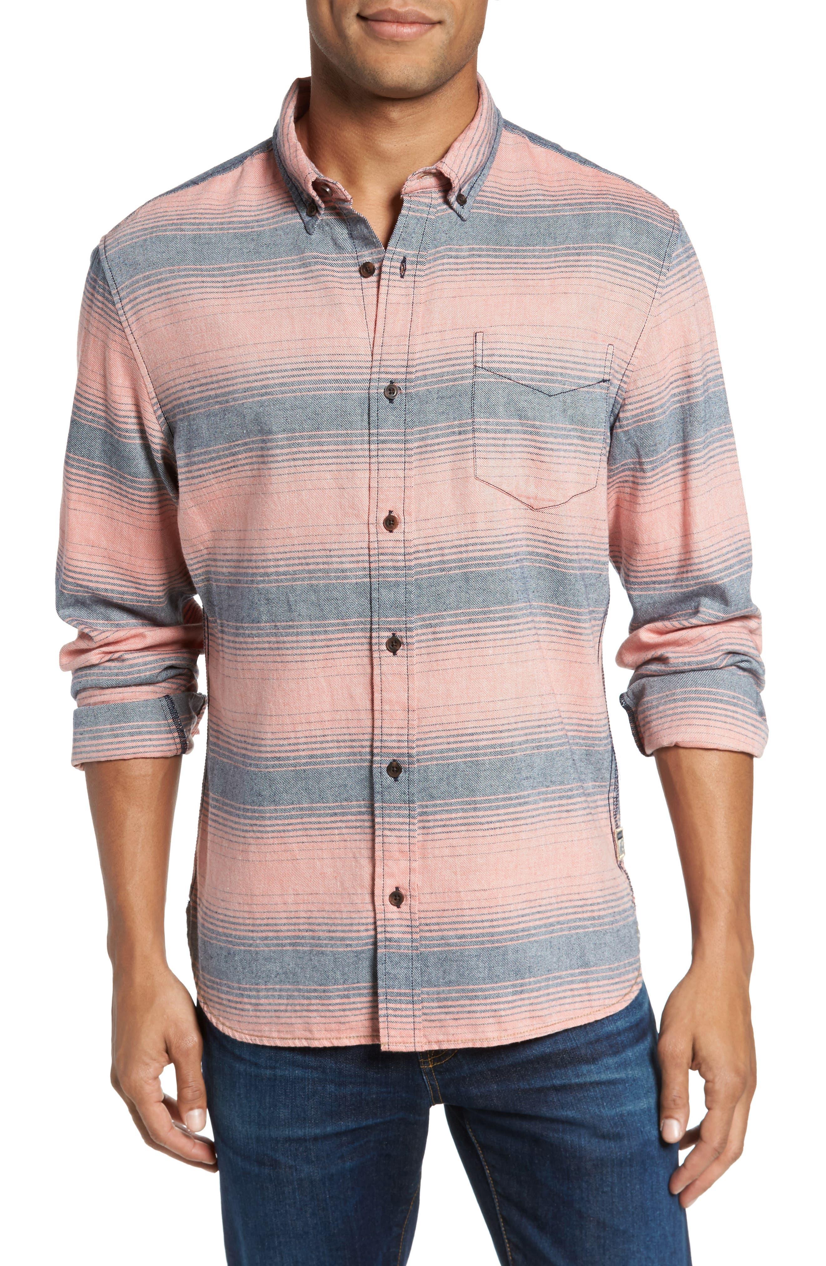 Brushed Stripe Sport Shirt,                         Main,                         color, Hot Coral
