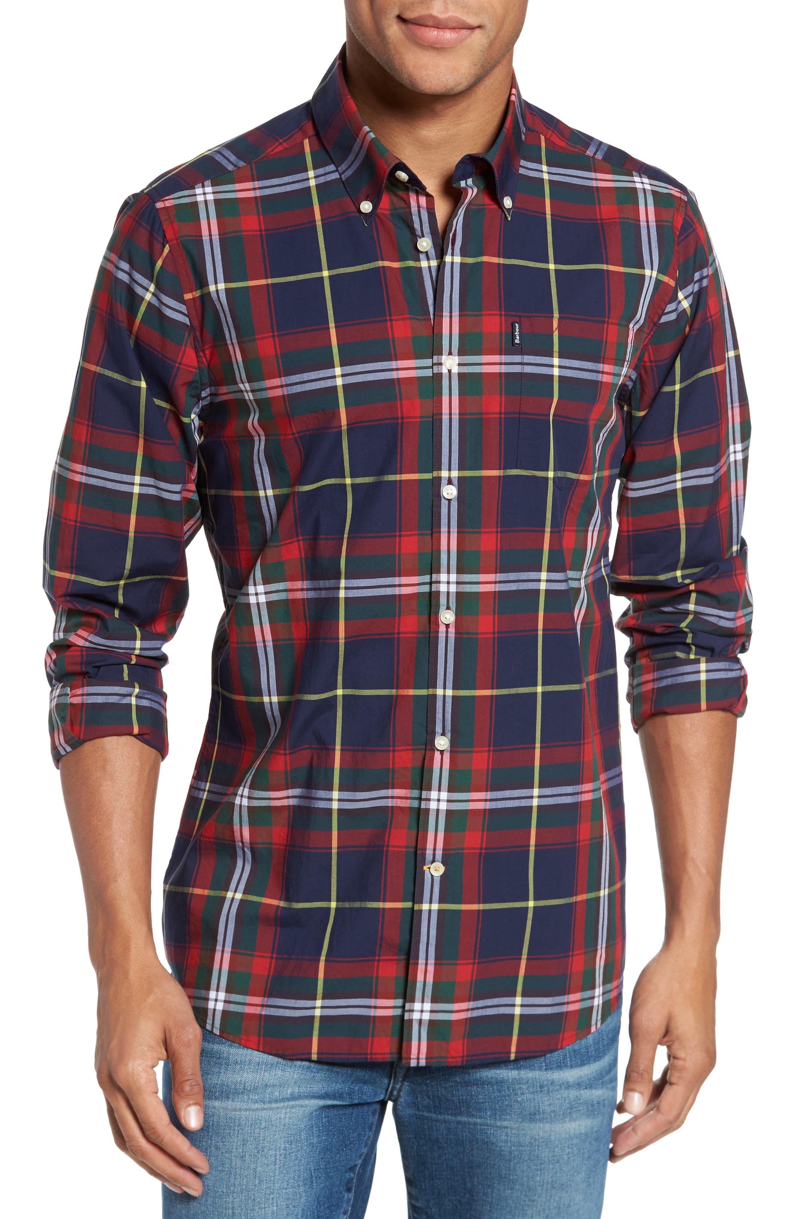 Oscar Trim Fit Plaid Sport Shirt,                         Main,                         color, Navy