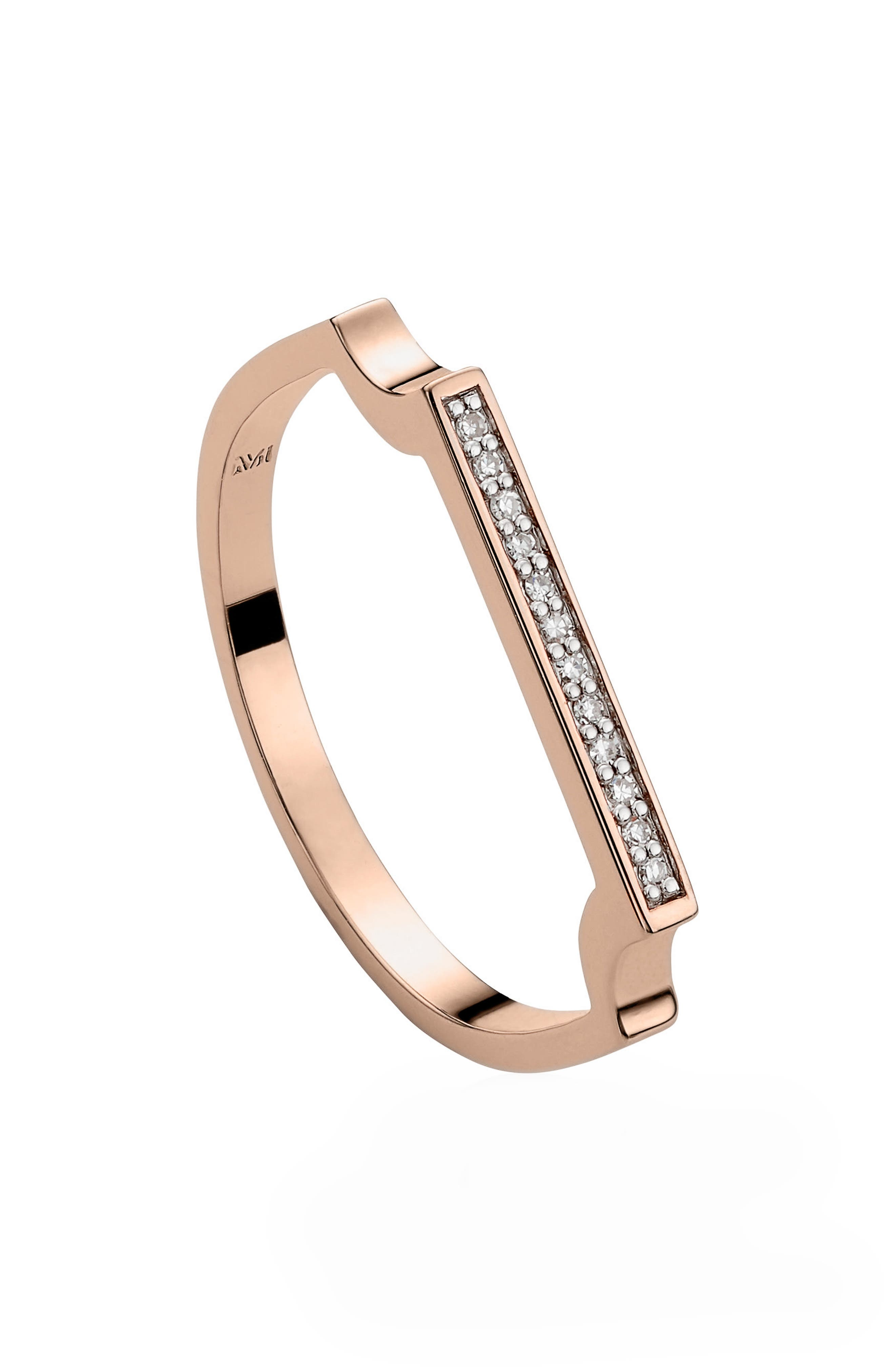 Signature Thin Diamond Ring,                             Alternate thumbnail 3, color,                             Rose Gold/ Diamond
