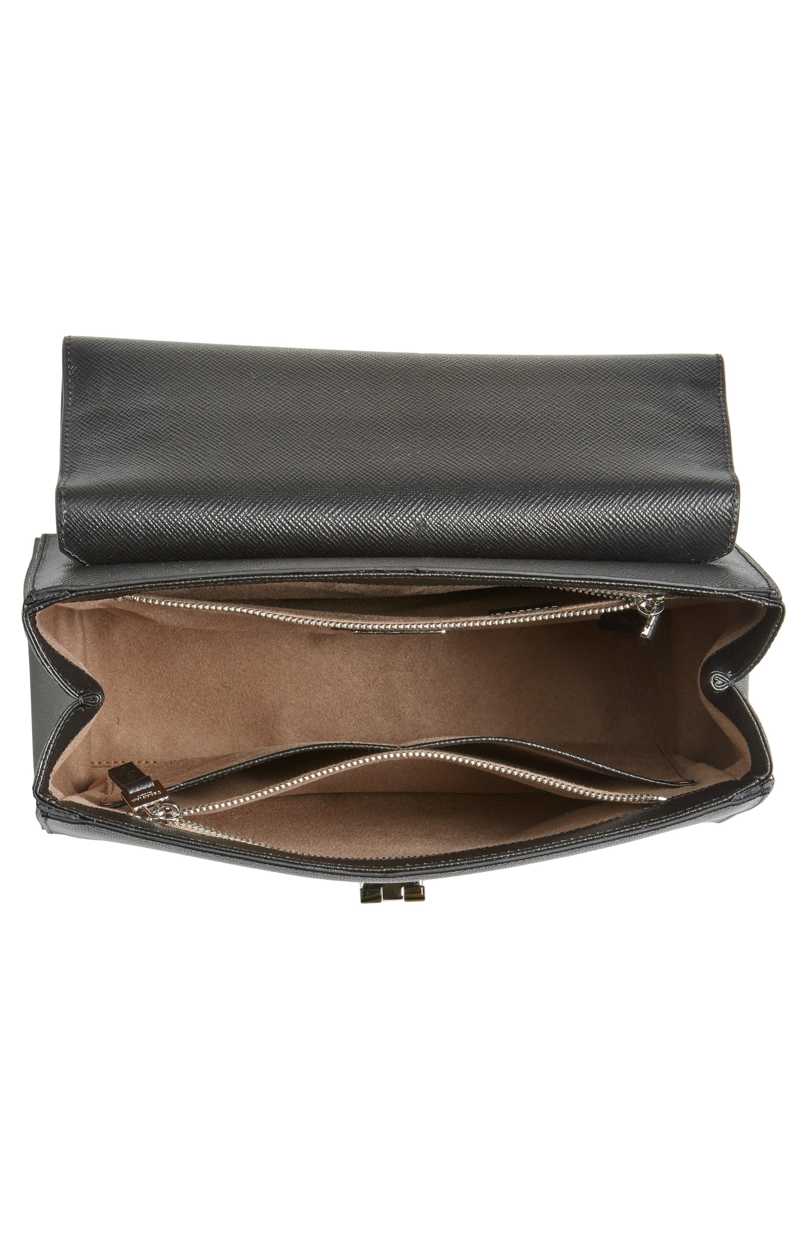 Elena Leather Top Handle Satchel,                             Alternate thumbnail 4, color,                             Black