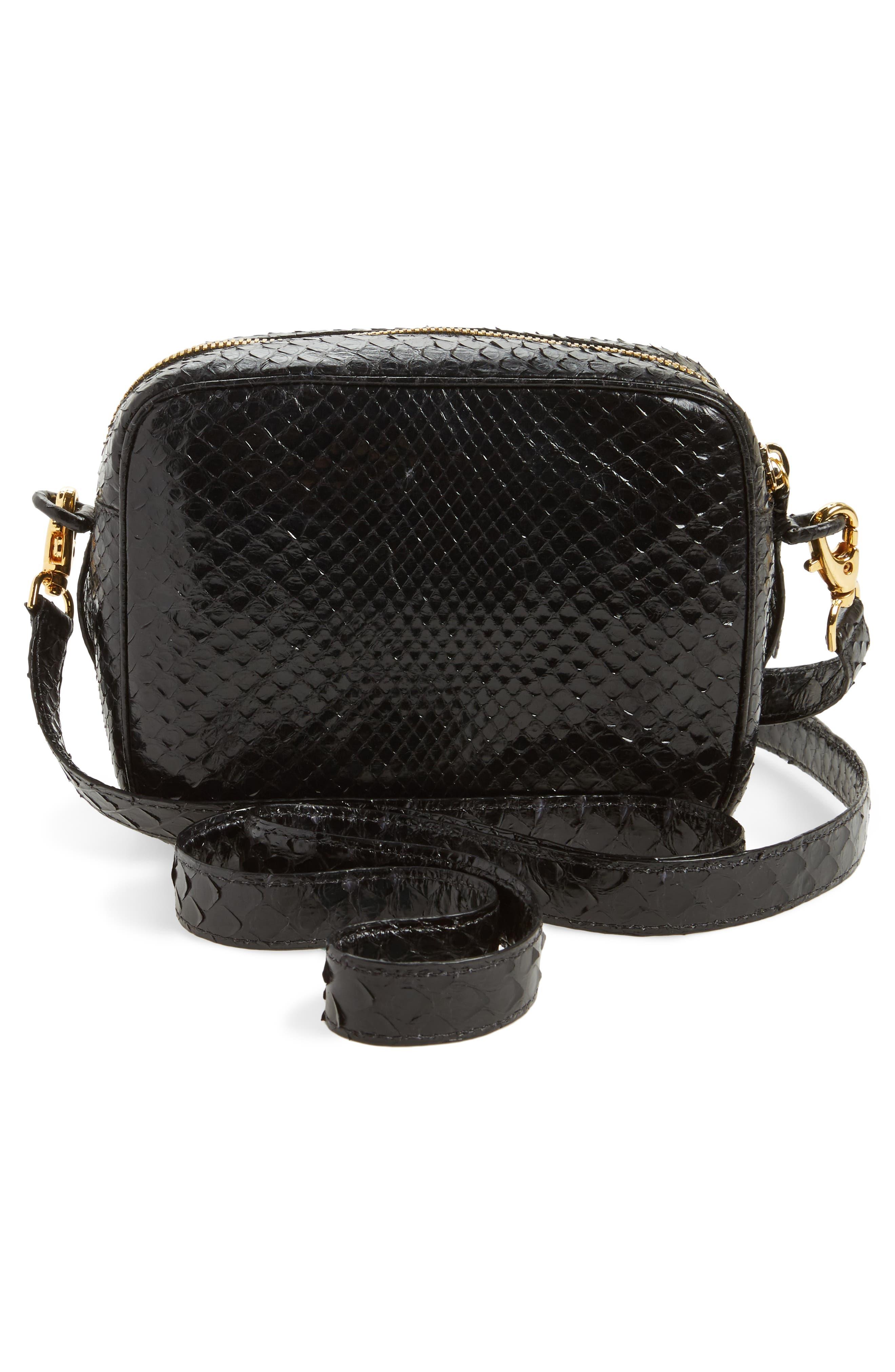 Genuine Python Shoulder Bag,                             Alternate thumbnail 3, color,                             Black