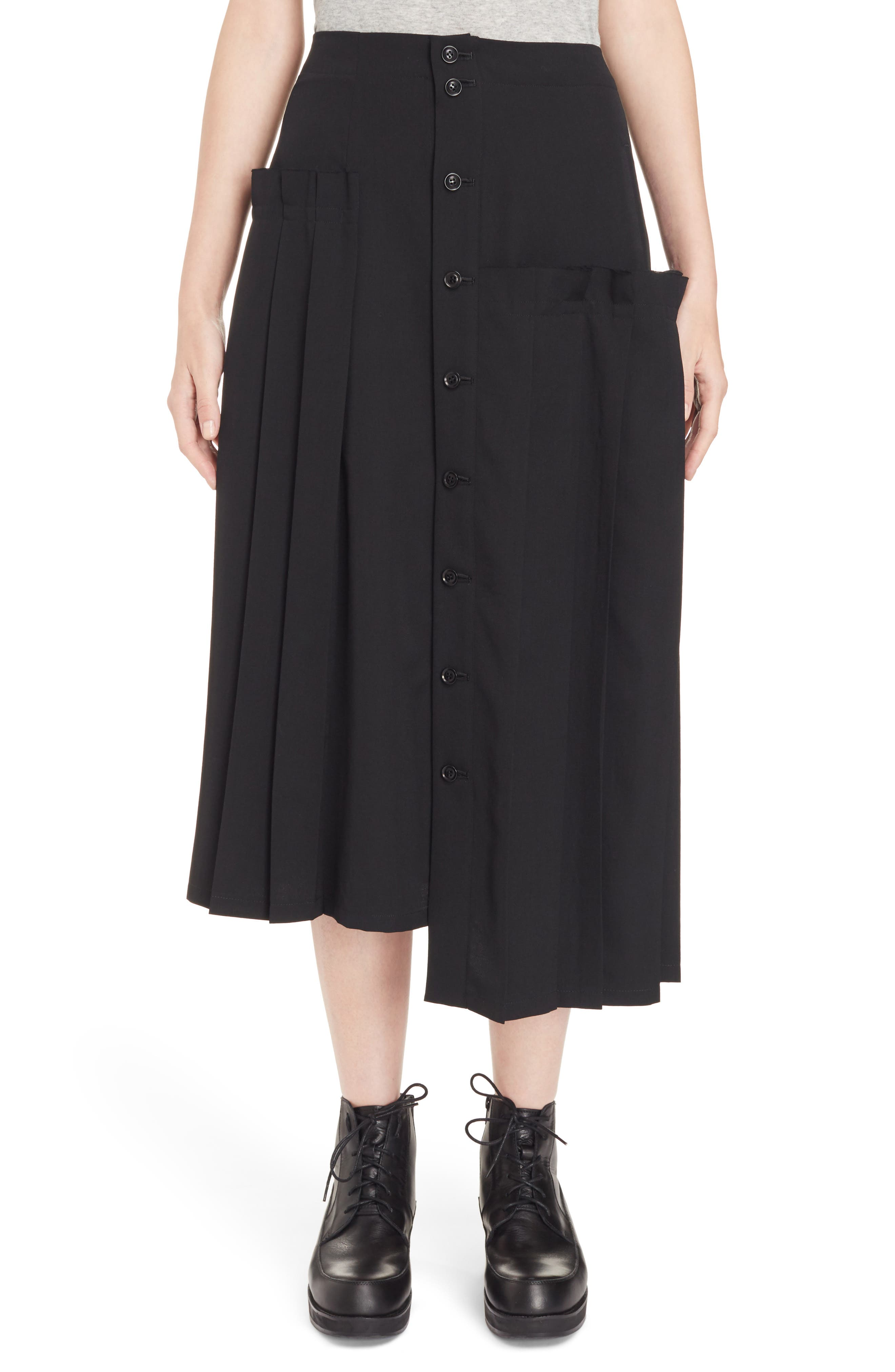 Pleated Button Front Wool Skirt,                             Main thumbnail 1, color,                             Black