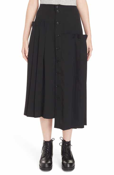 Y's by Yohji Yamamoto Pleated Button Front Wool Skirt