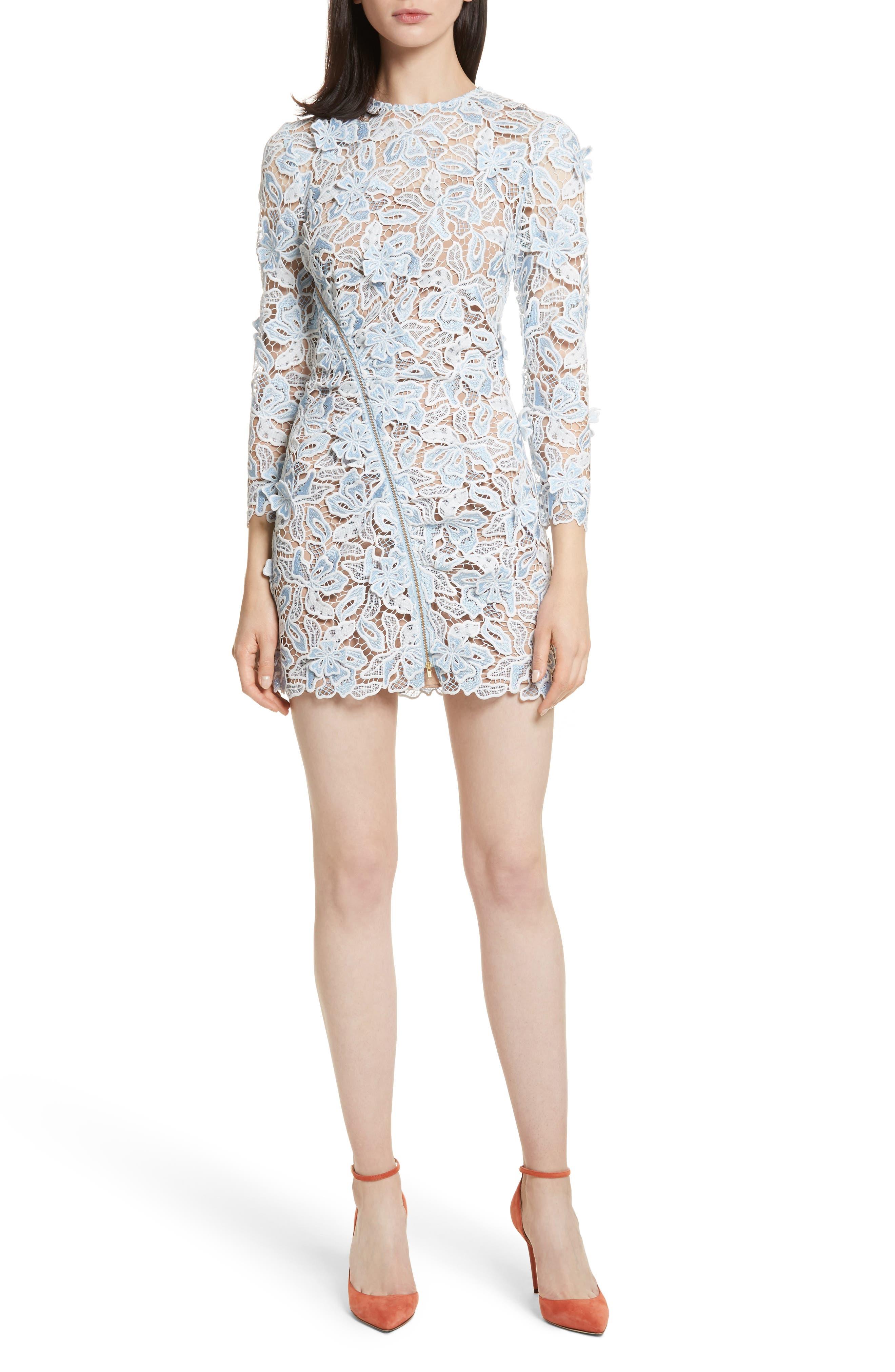 Lily 3D Lace Minidress,                         Main,                         color, Blue/ White