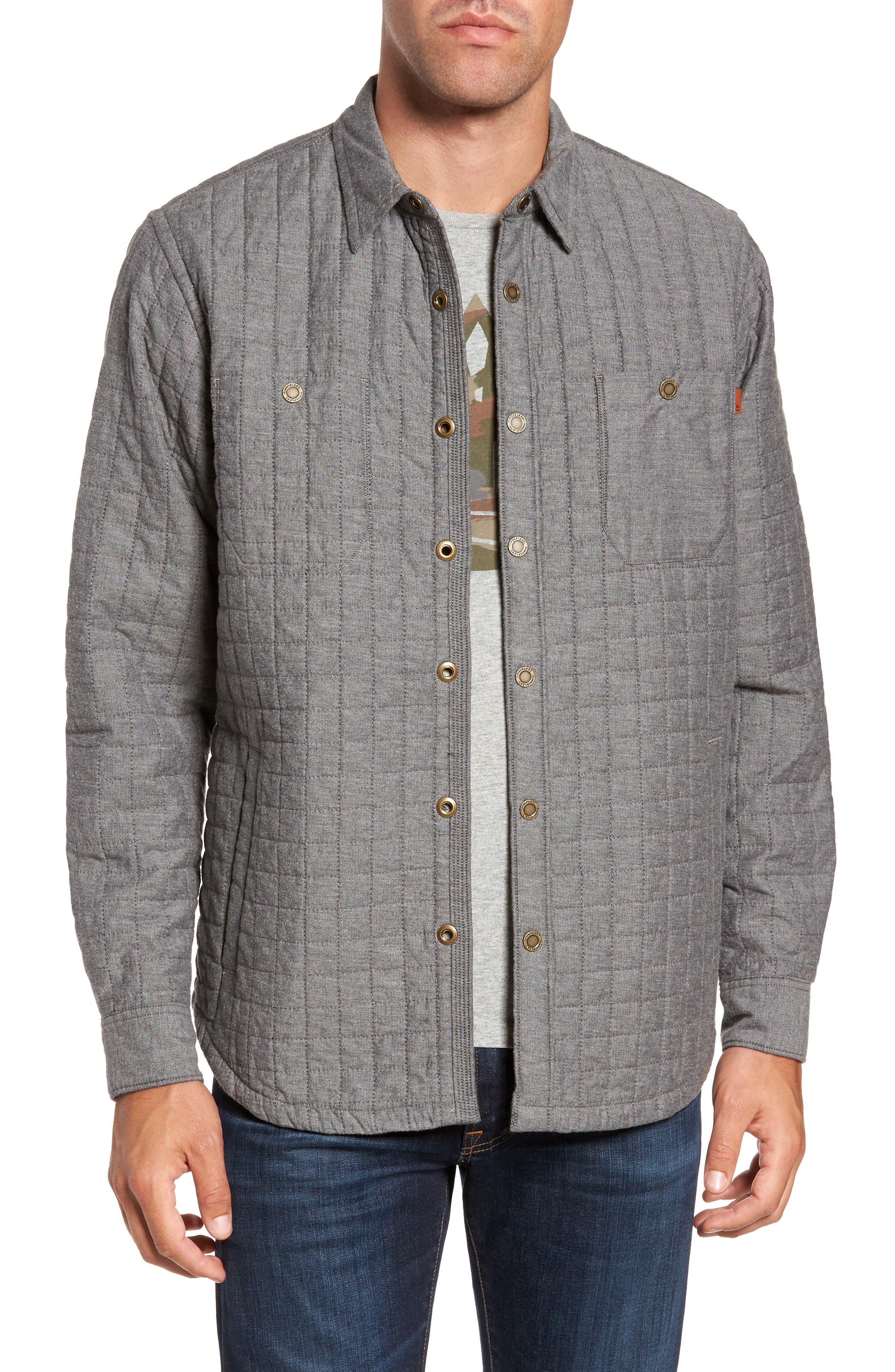 Gunstock River Lightweight Quilted Shirt Jacket,                             Main thumbnail 1, color,                             Grey