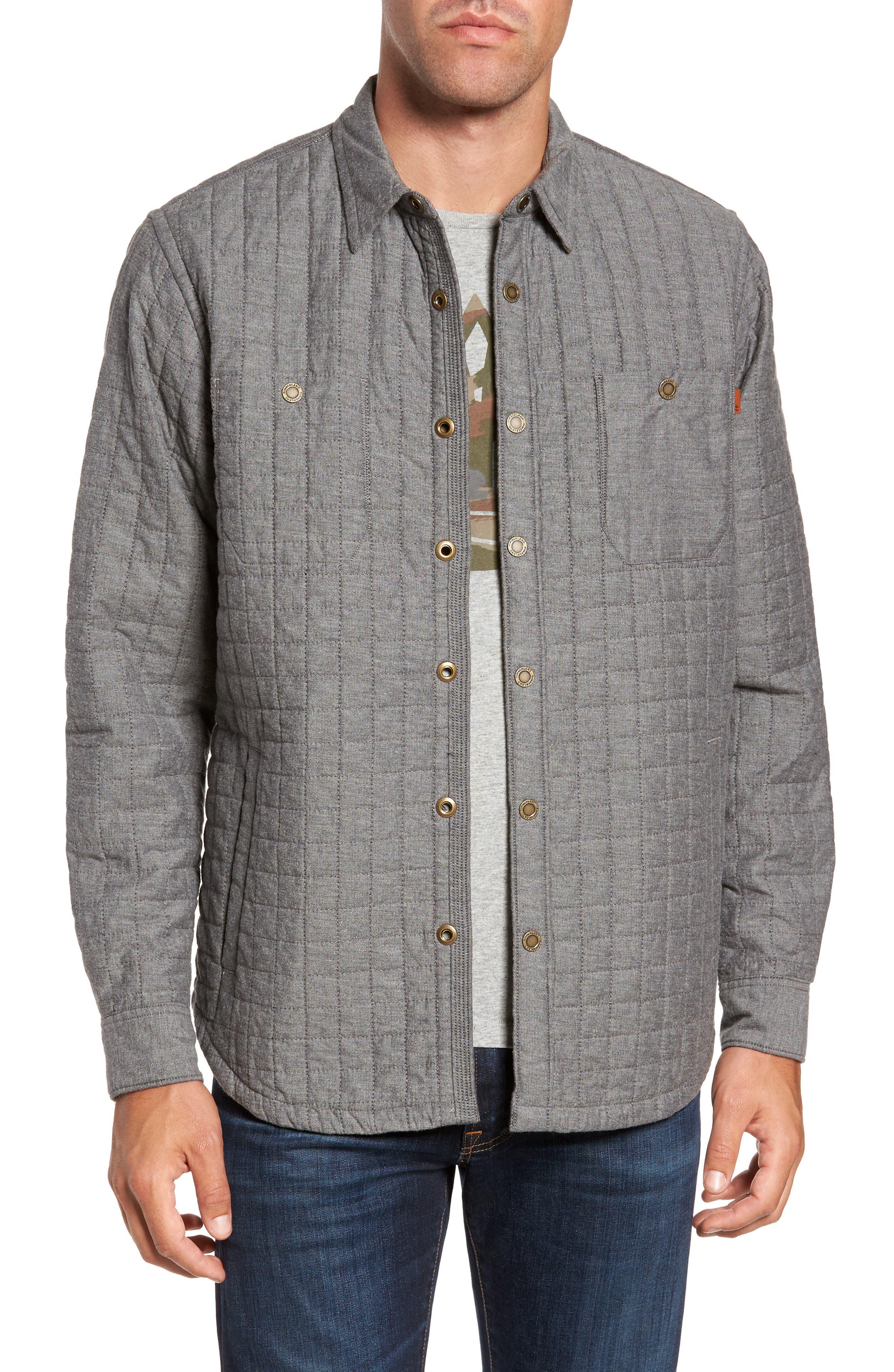 Gunstock River Lightweight Quilted Shirt Jacket,                         Main,                         color, Grey