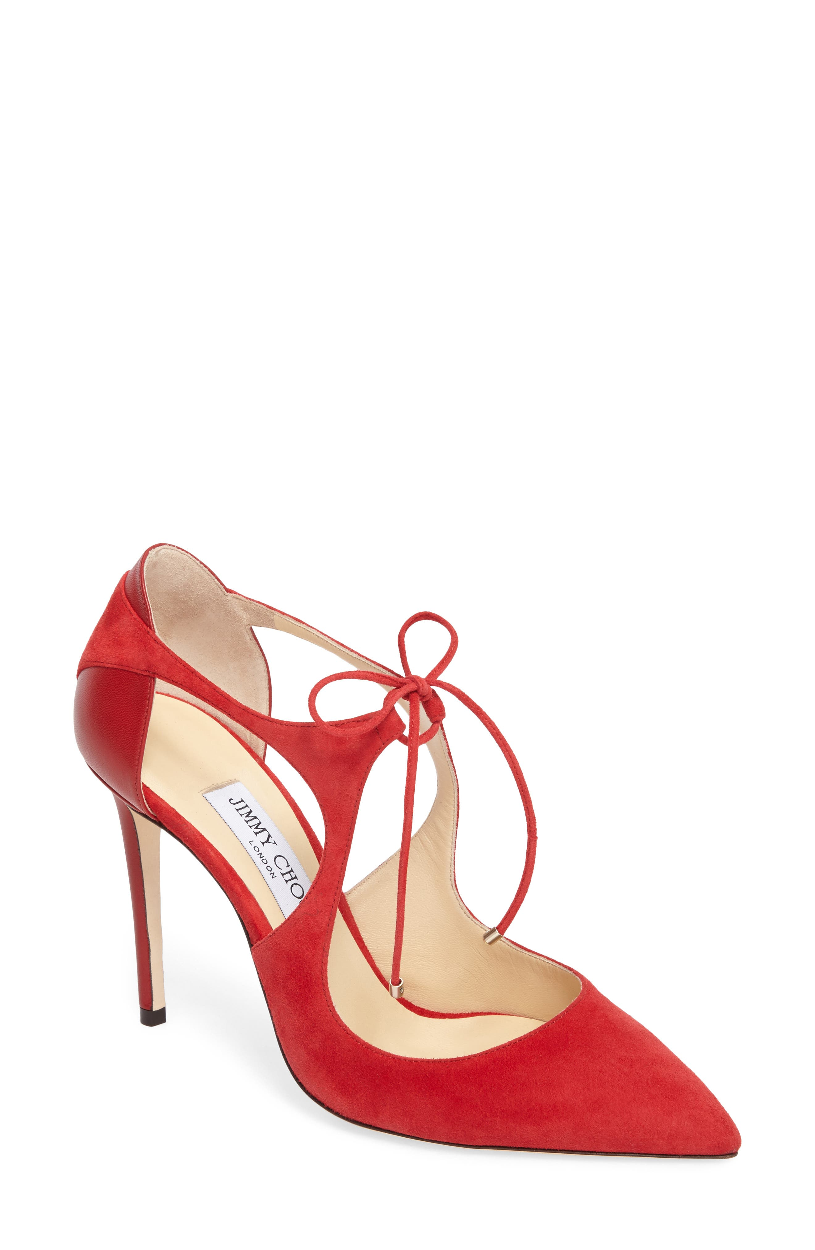 Vanessa Tie Front Pump,                             Main thumbnail 1, color,                             Red/ Red