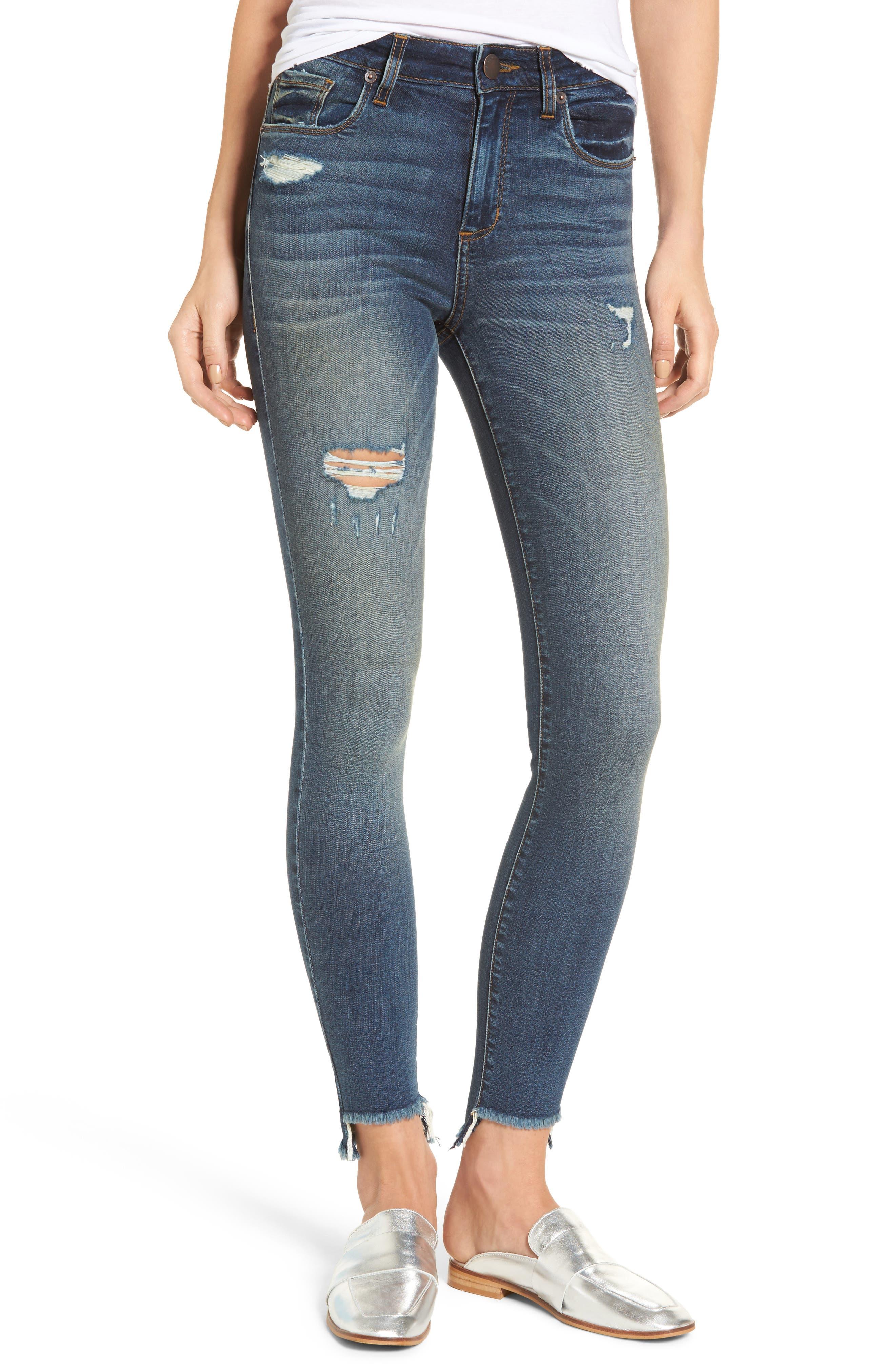 Elli Distressed Step Hem Skinny Jeans,                             Main thumbnail 1, color,                             Yukon