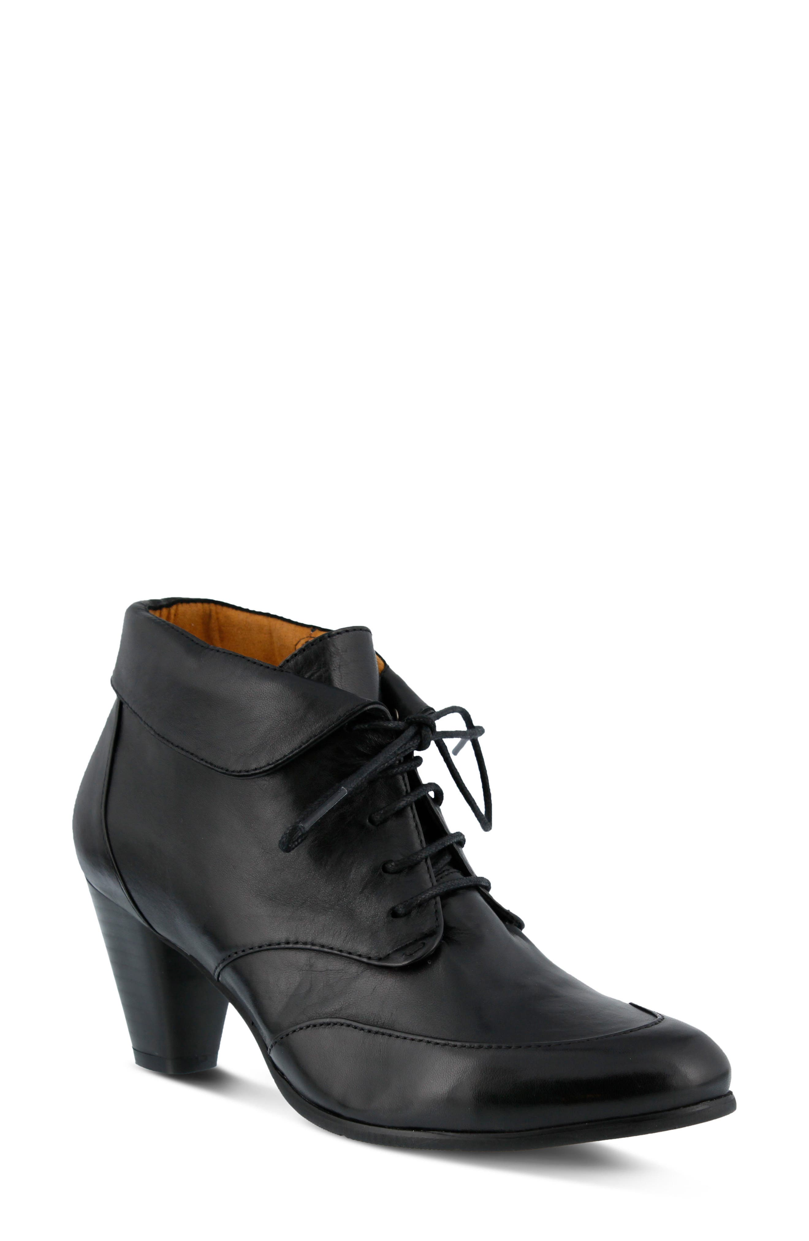 Conquer Foldover Cuff Bootie,                             Main thumbnail 1, color,                             Black Leather