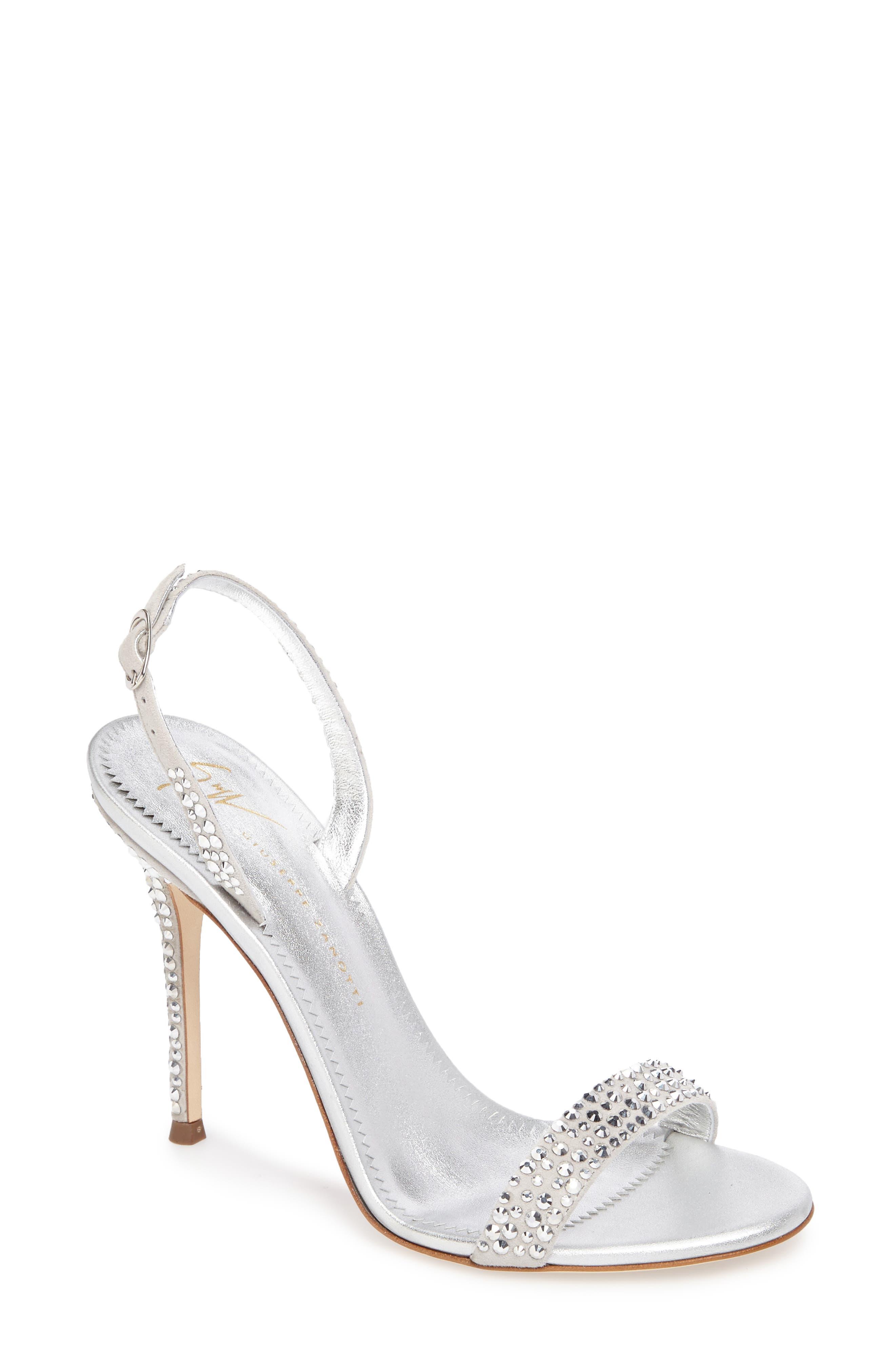 Musitco Crystal Embellished Slingback Sandal,                             Main thumbnail 1, color,                             Grey