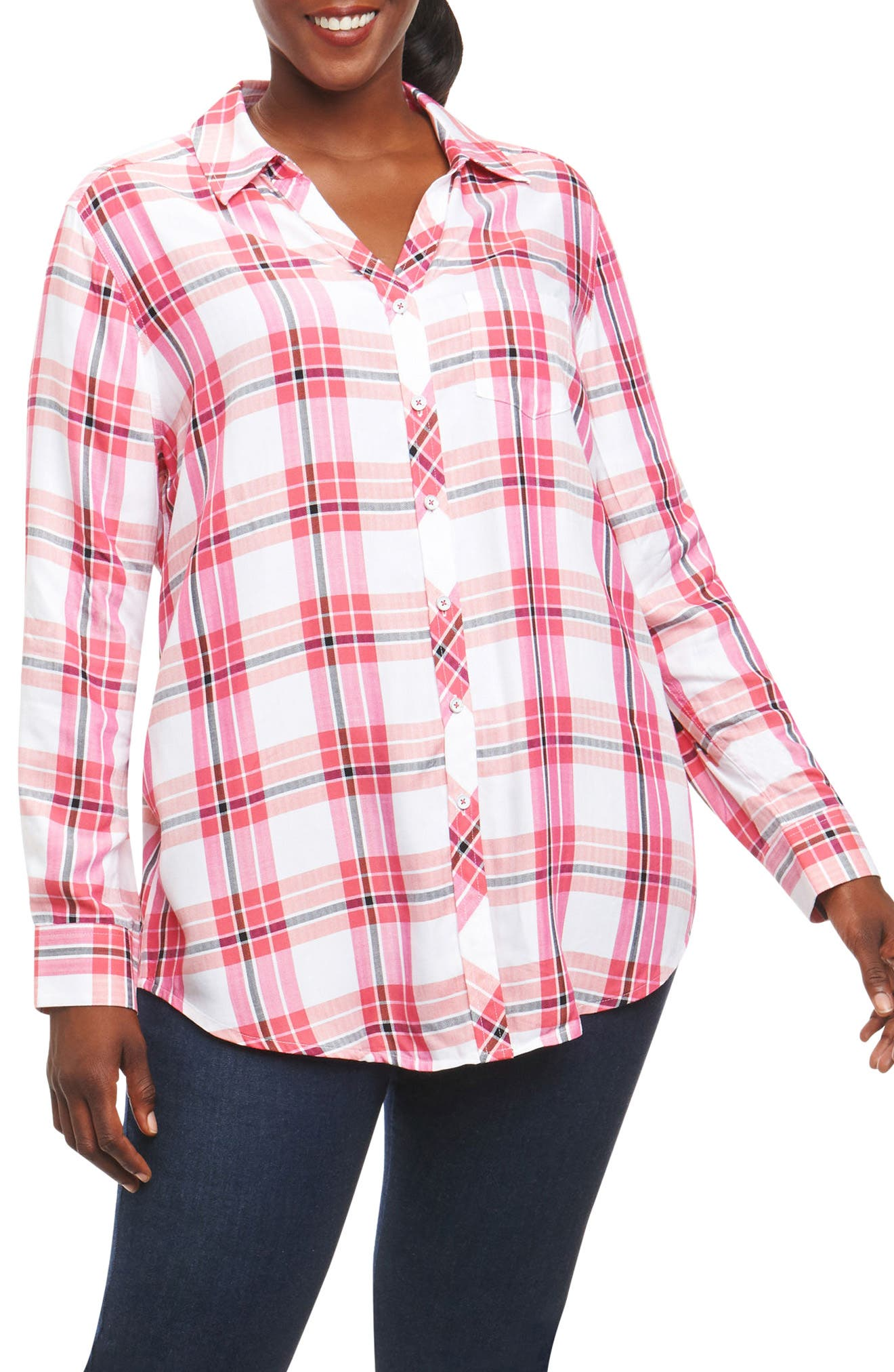 Alternate Image 1 Selected - Foxcroft Fay Plaid Shirt (Plus Size)