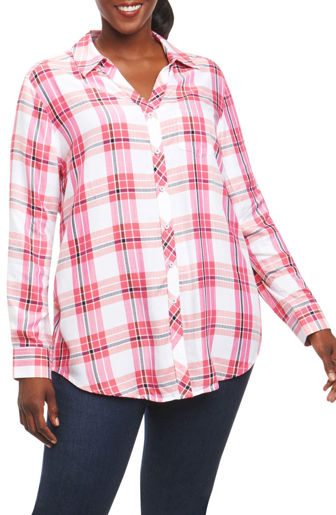 Main Image - Foxcroft Fay Plaid Shirt (Plus Size)