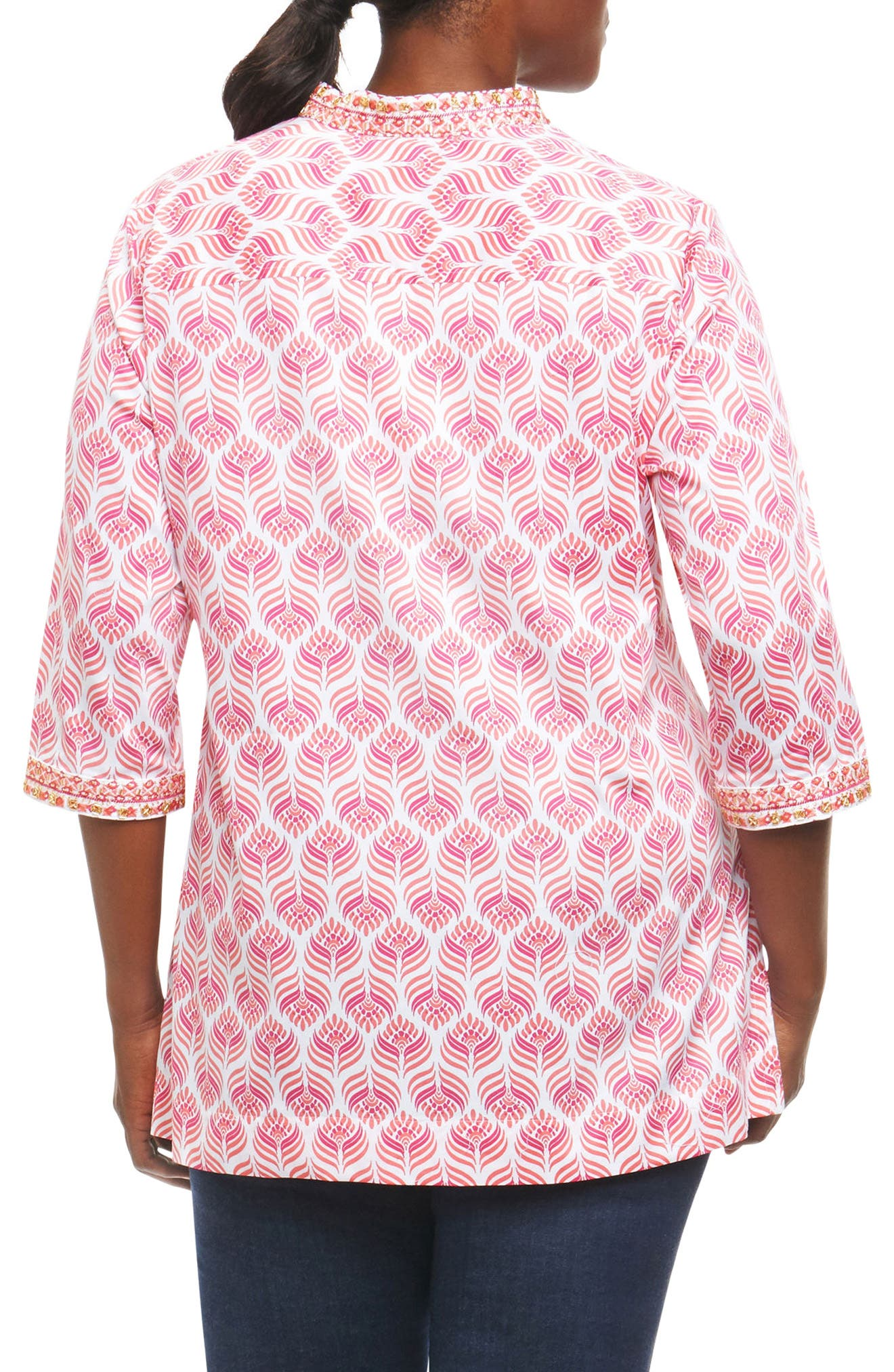 Angelica Embroidered Block Print Tunic,                             Alternate thumbnail 2, color,                             White Multi