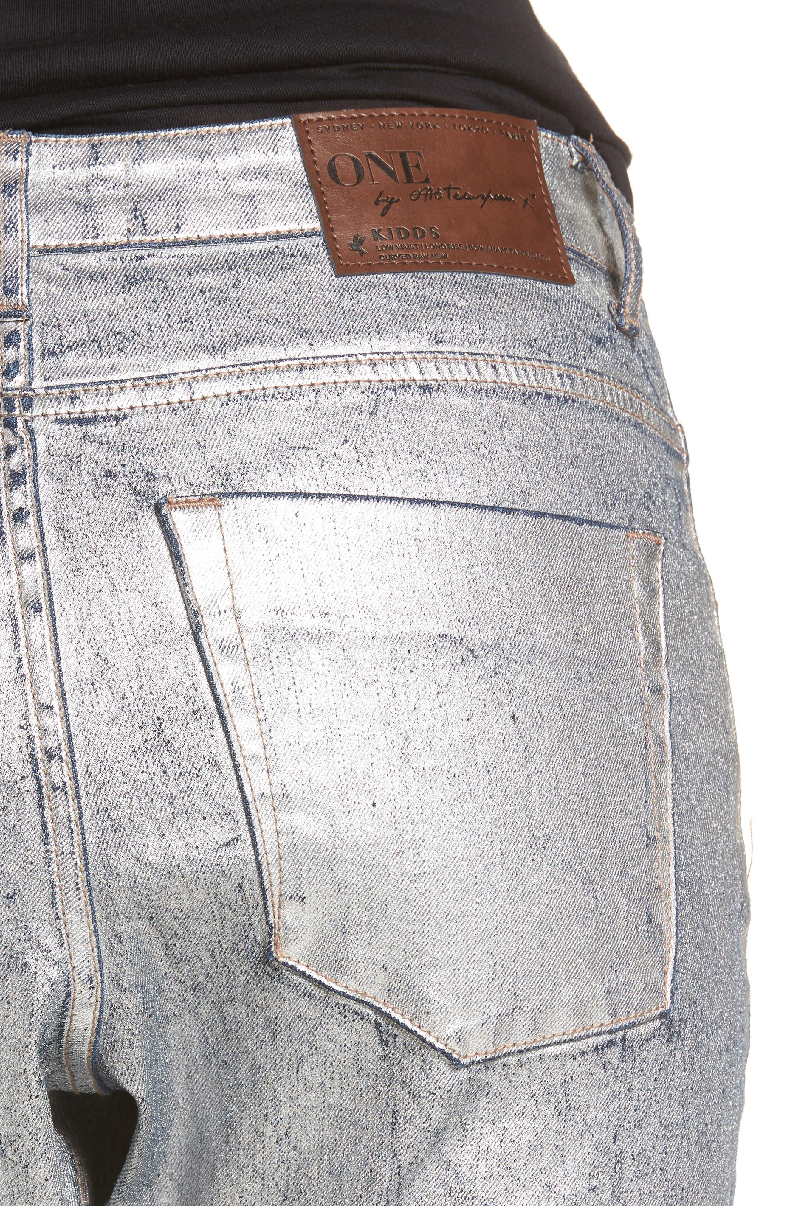 Kidds Metallic Drop Crotch Skinny Jeans,                             Alternate thumbnail 4, color,                             Nightshade