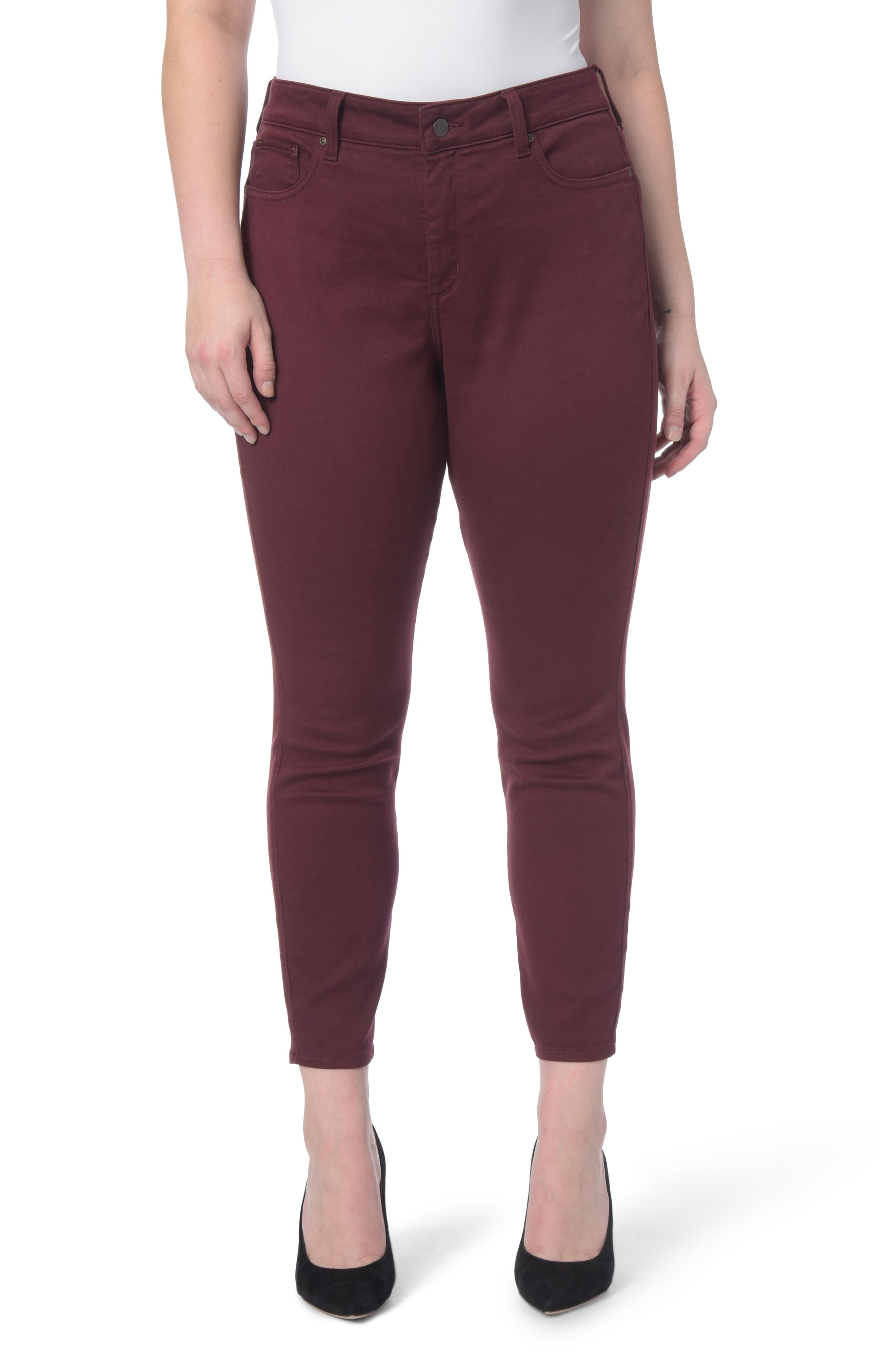 Ami Stretch Skinny Jeans,                             Main thumbnail 1, color,                             Deep Currant