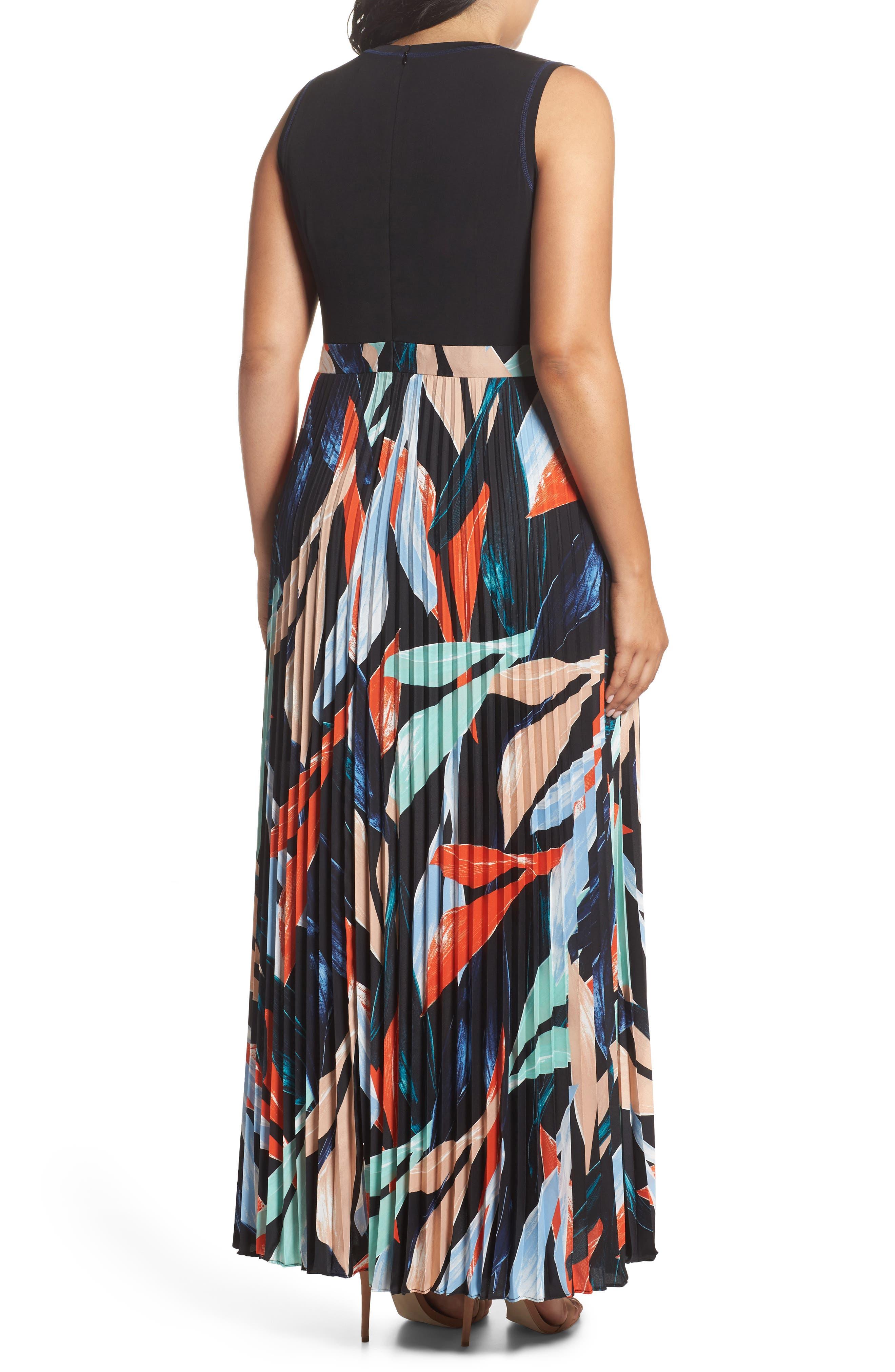 Mock Two-Piece Maxi Dress,                             Alternate thumbnail 3, color,                             Poppy Multi