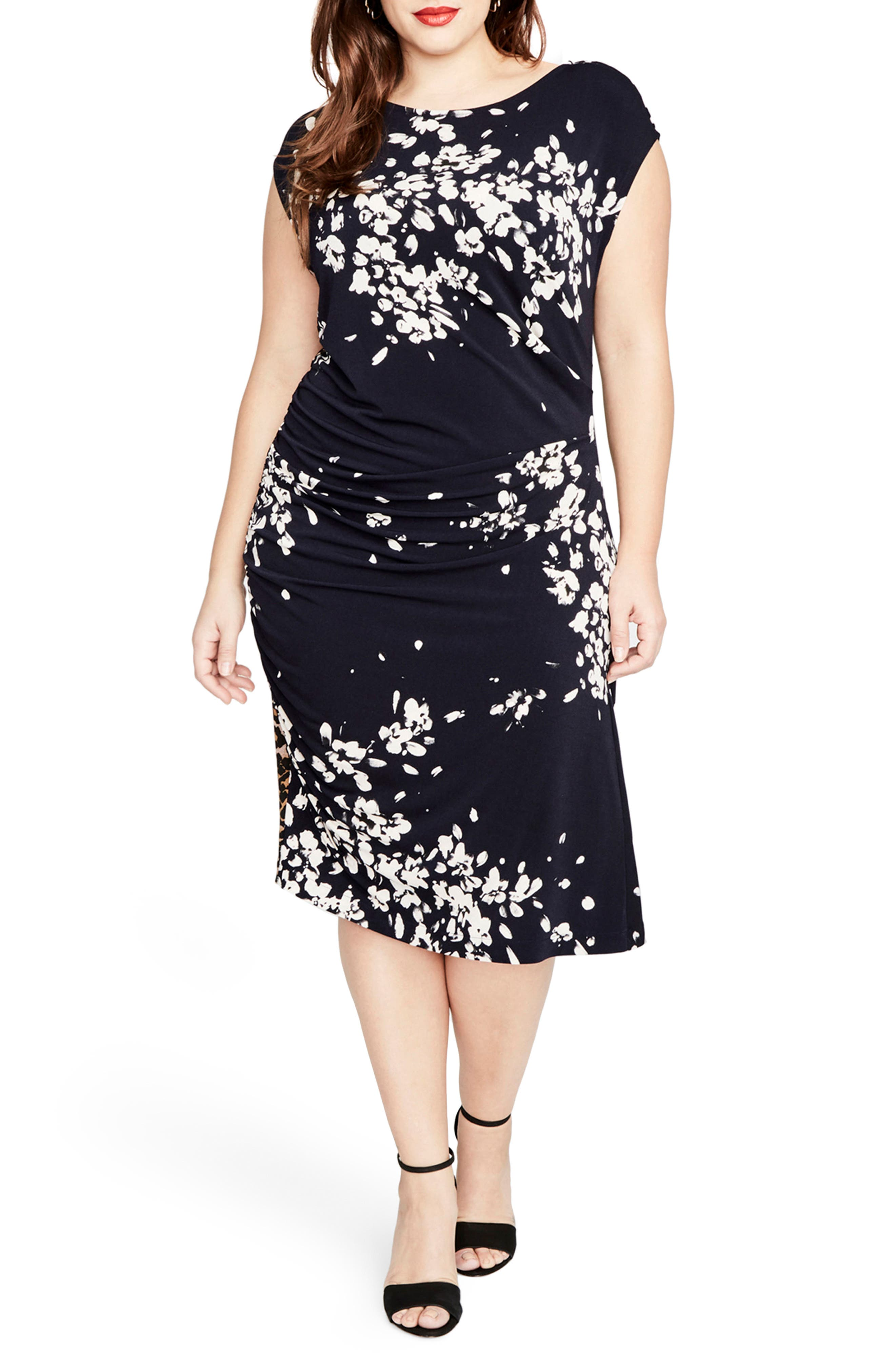 RACHEL BY Rachel Roy Asymmetrical Floral Dress,                             Main thumbnail 1, color,                             Navy Combo