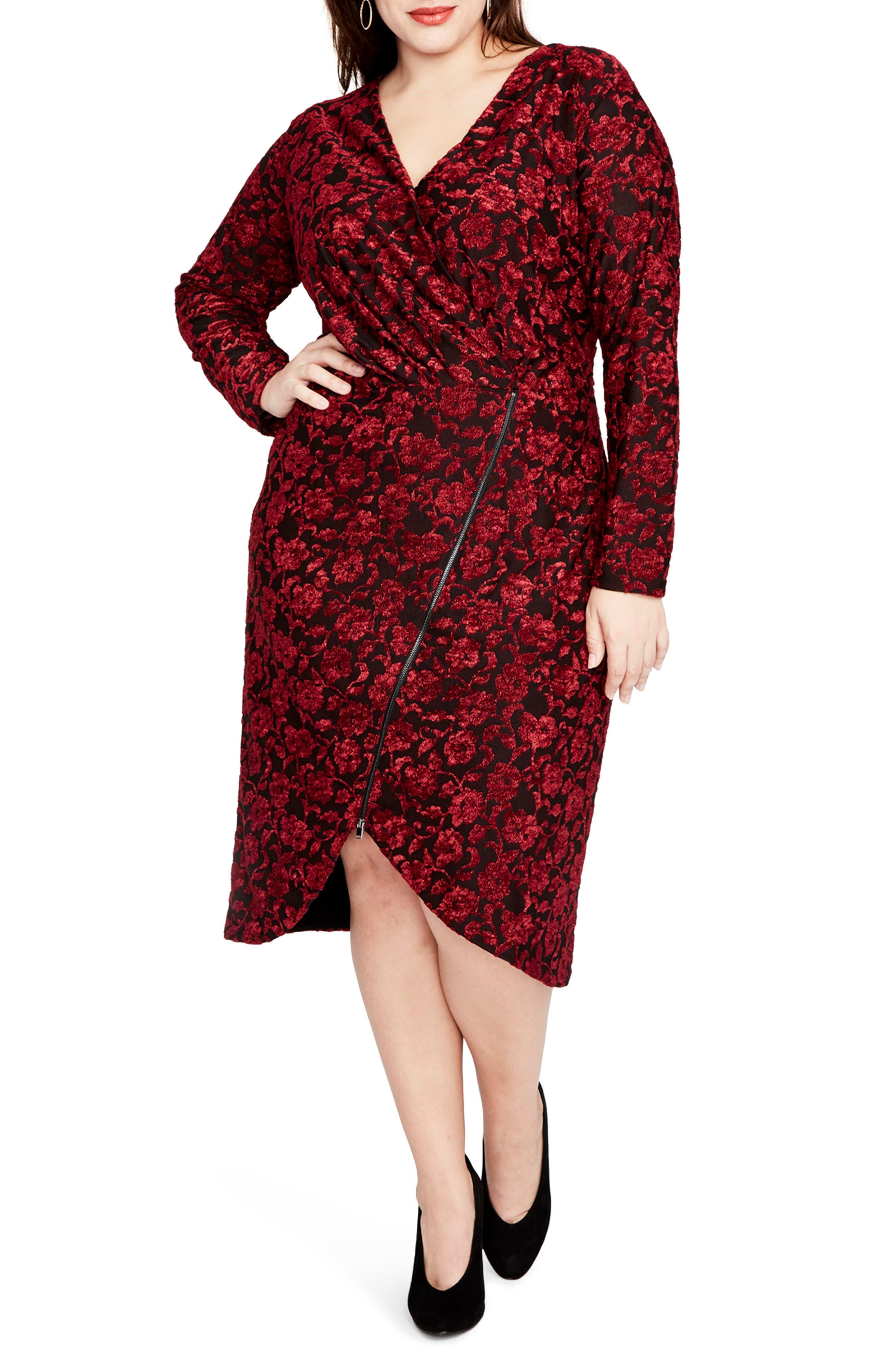 Velvet Floral Zip Front Dress,                         Main,                         color, Bordeaux Combo