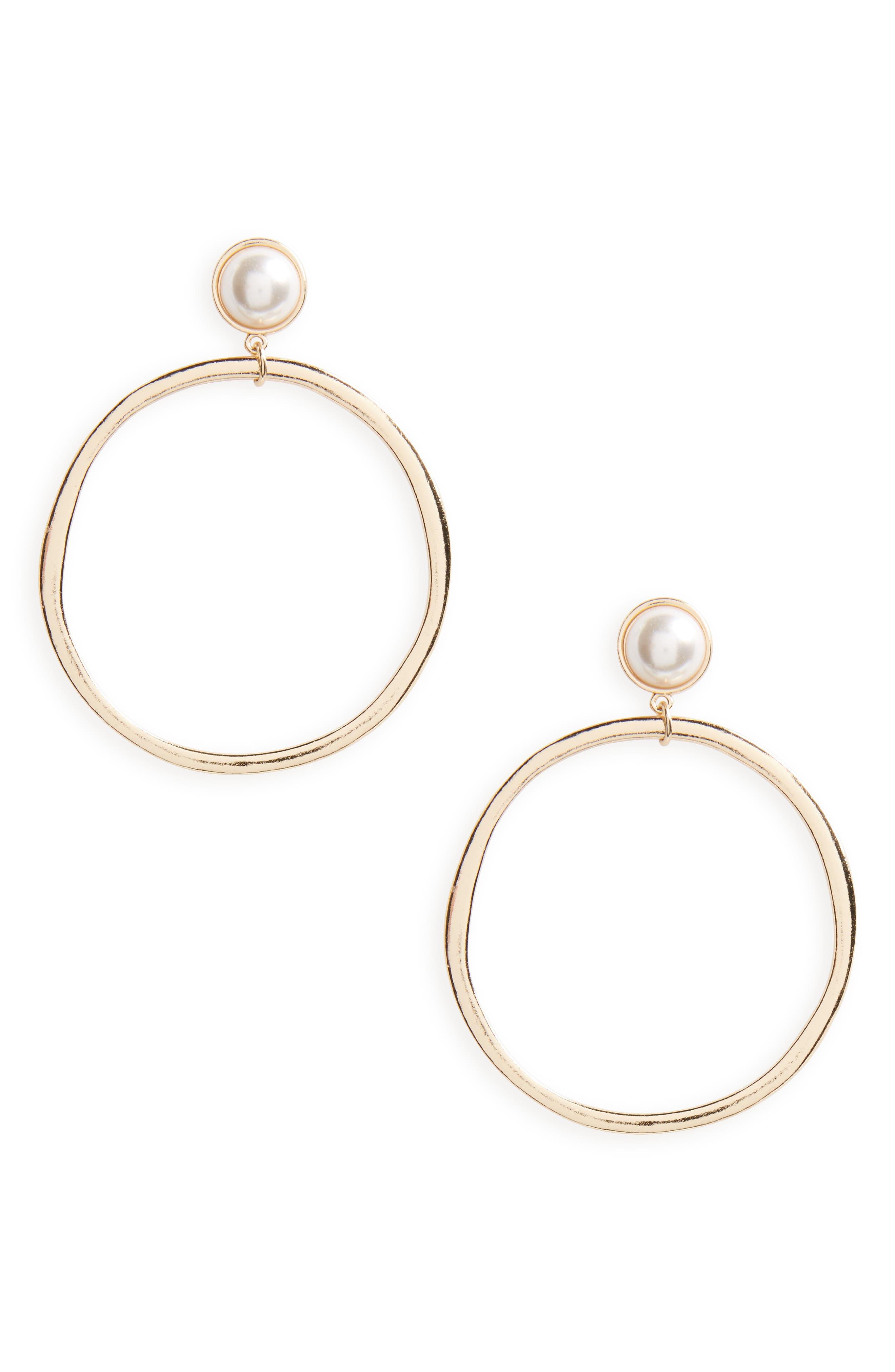 BP. Imitation Pearl Drop Hoop Earrings