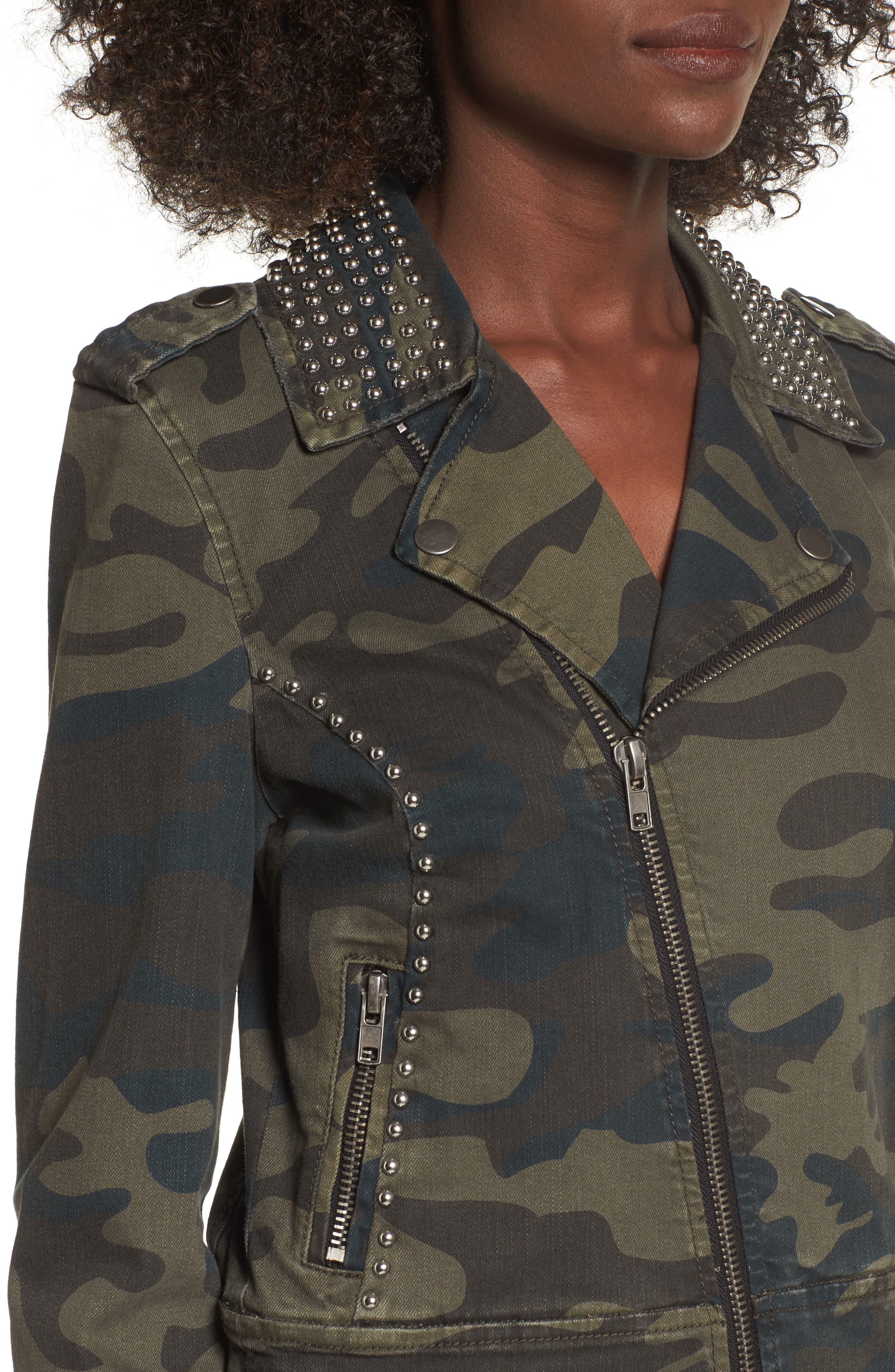 Studded Leopard Print Moto Jacket,                             Alternate thumbnail 4, color,                             Camo