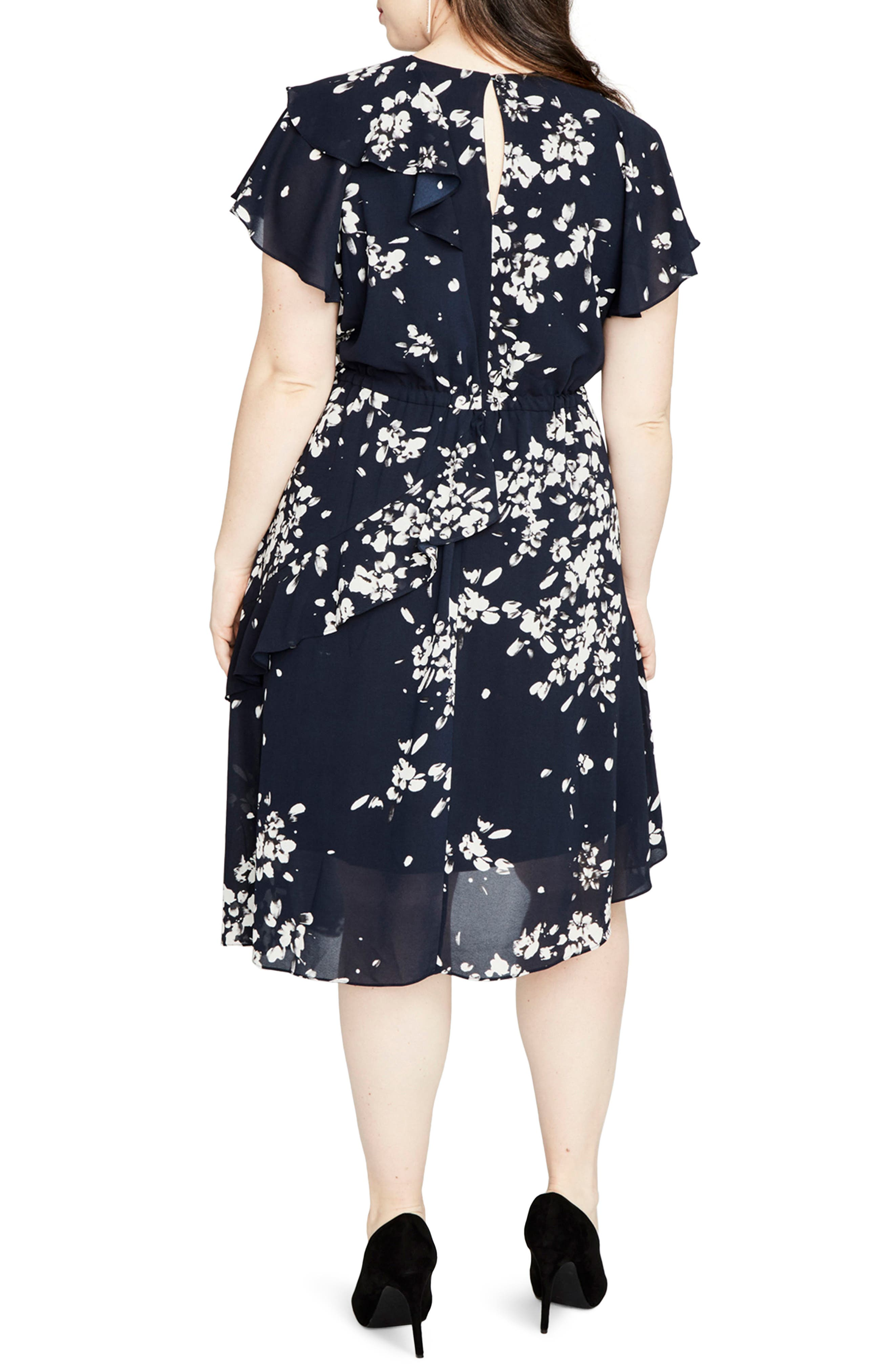 Ruffle Floral A-Line Dress,                             Alternate thumbnail 2, color,                             Navy Combo