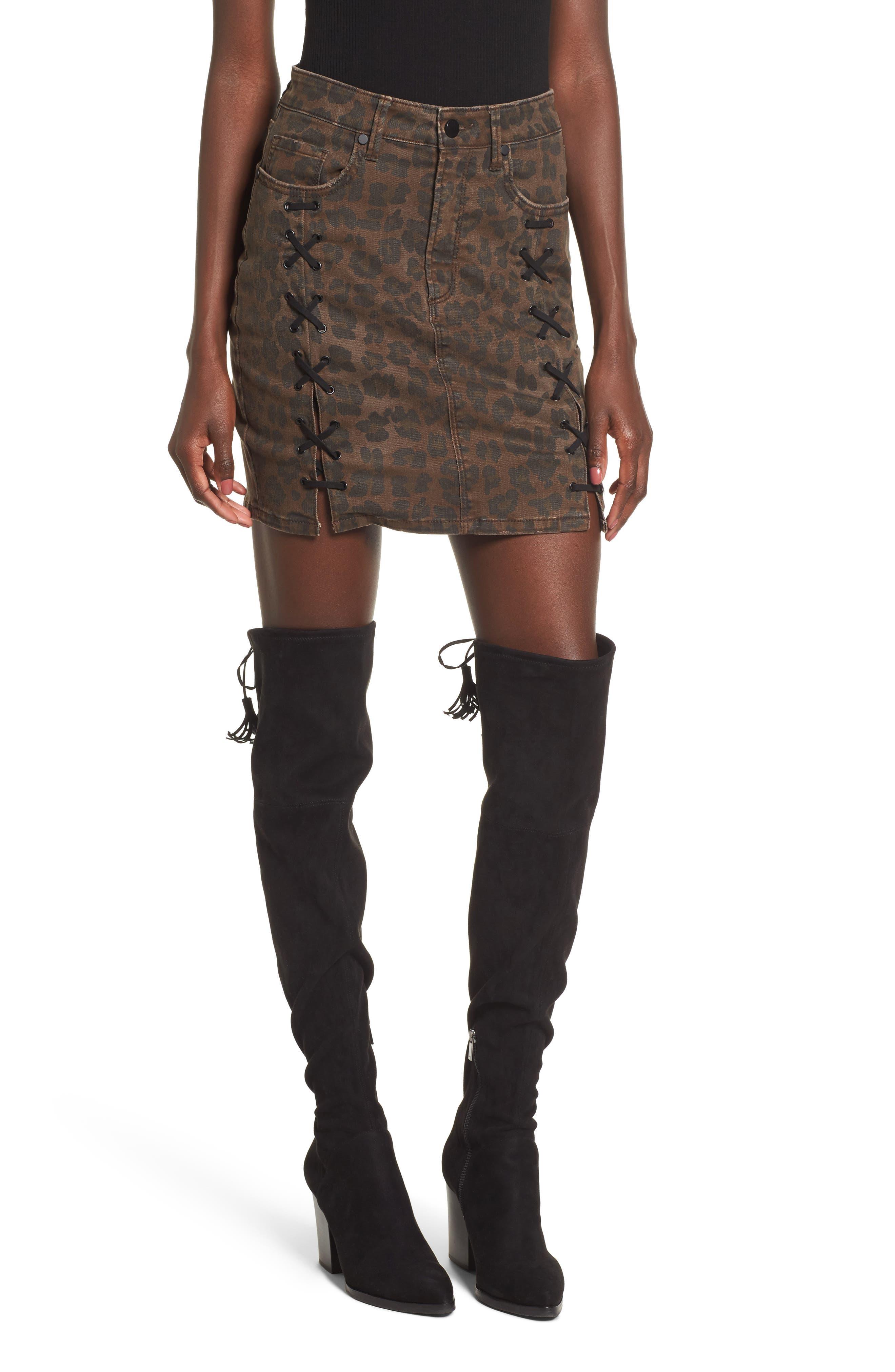 AFRM Lace-Up Denim Skirt
