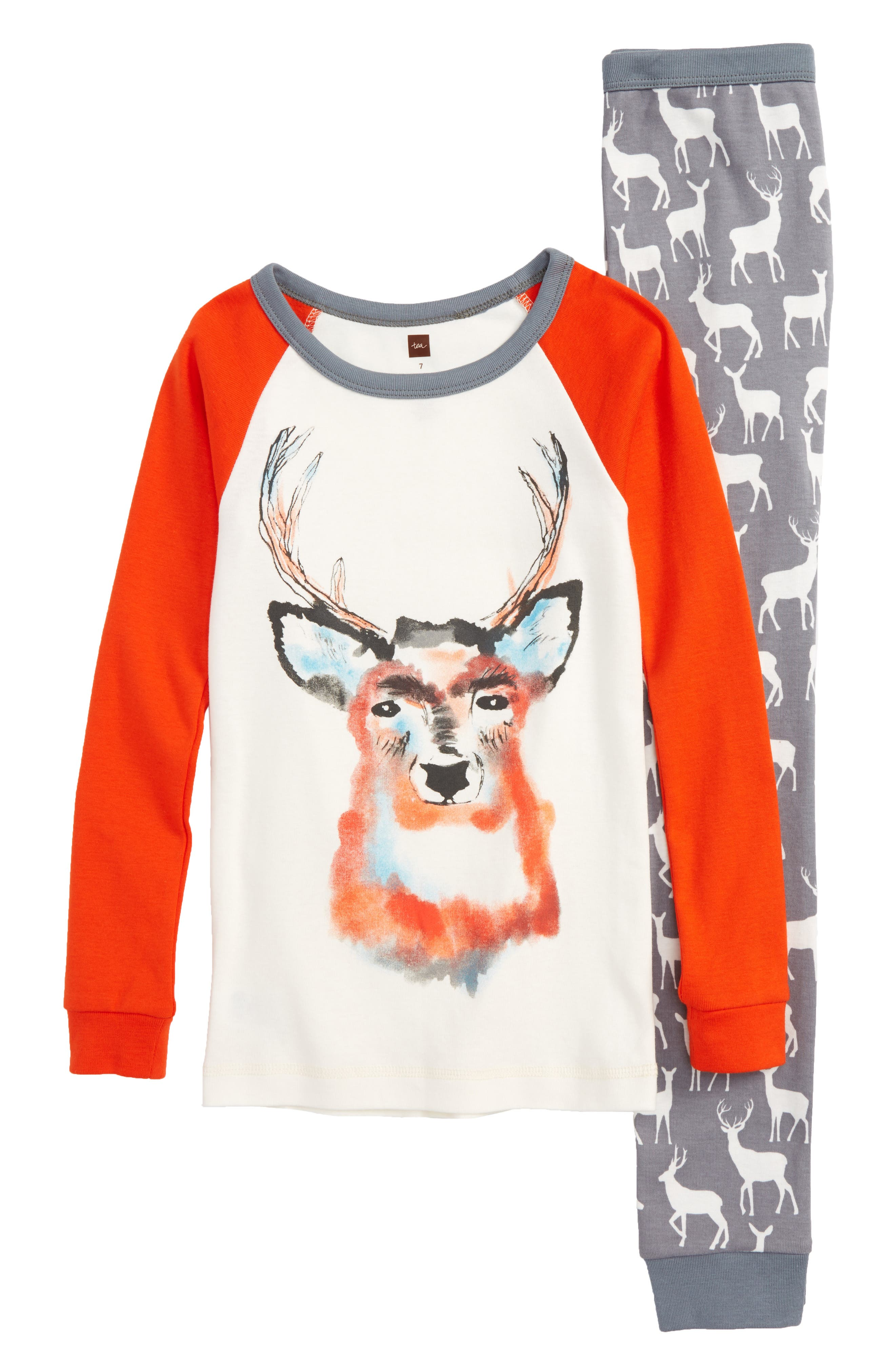 Red Deer Fitted Two-Piece Pajamas,                         Main,                         color, Rain Cloud