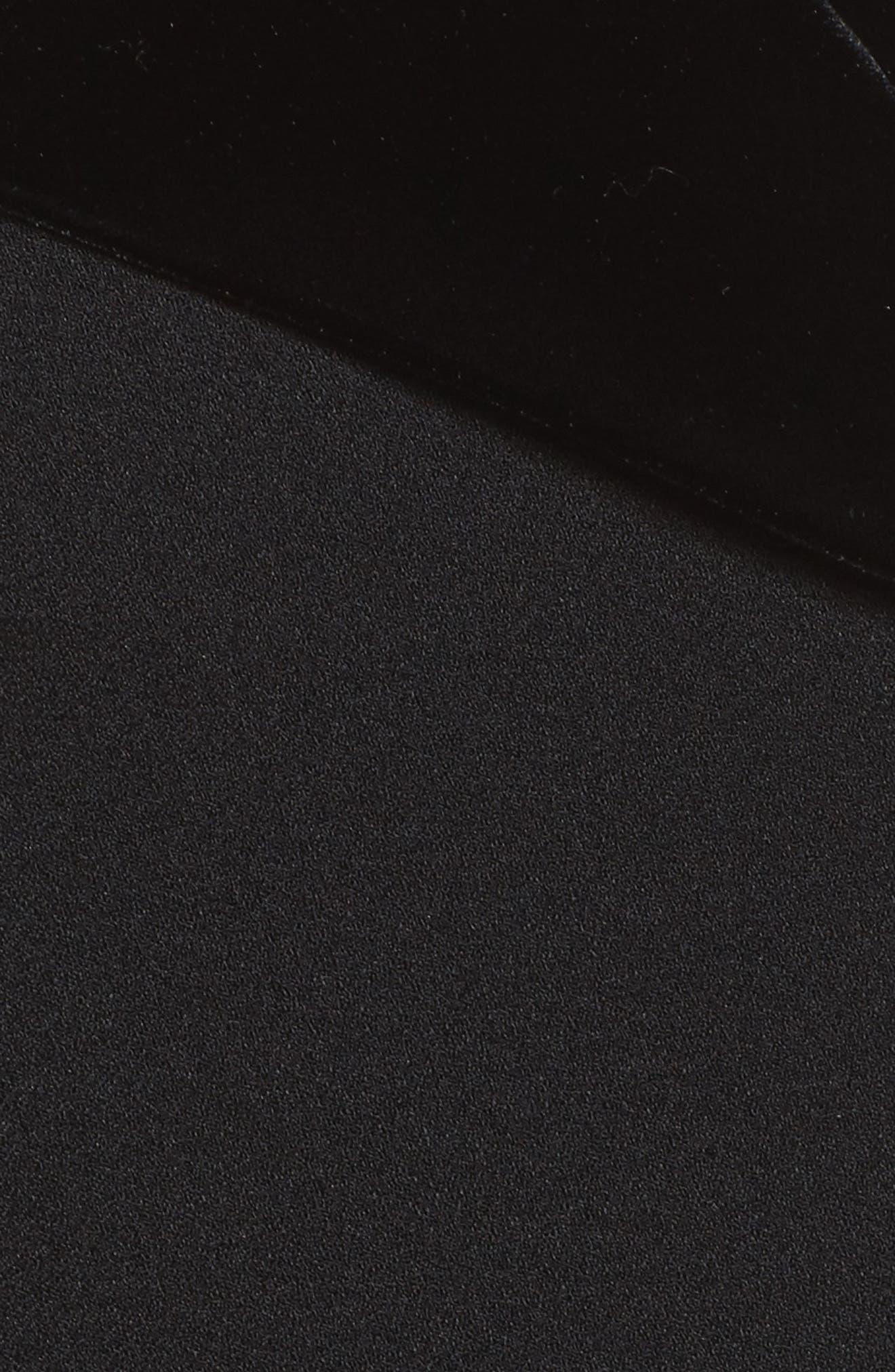 Off the Shoulder Velvet & Crepe Top,                             Alternate thumbnail 5, color,                             Black