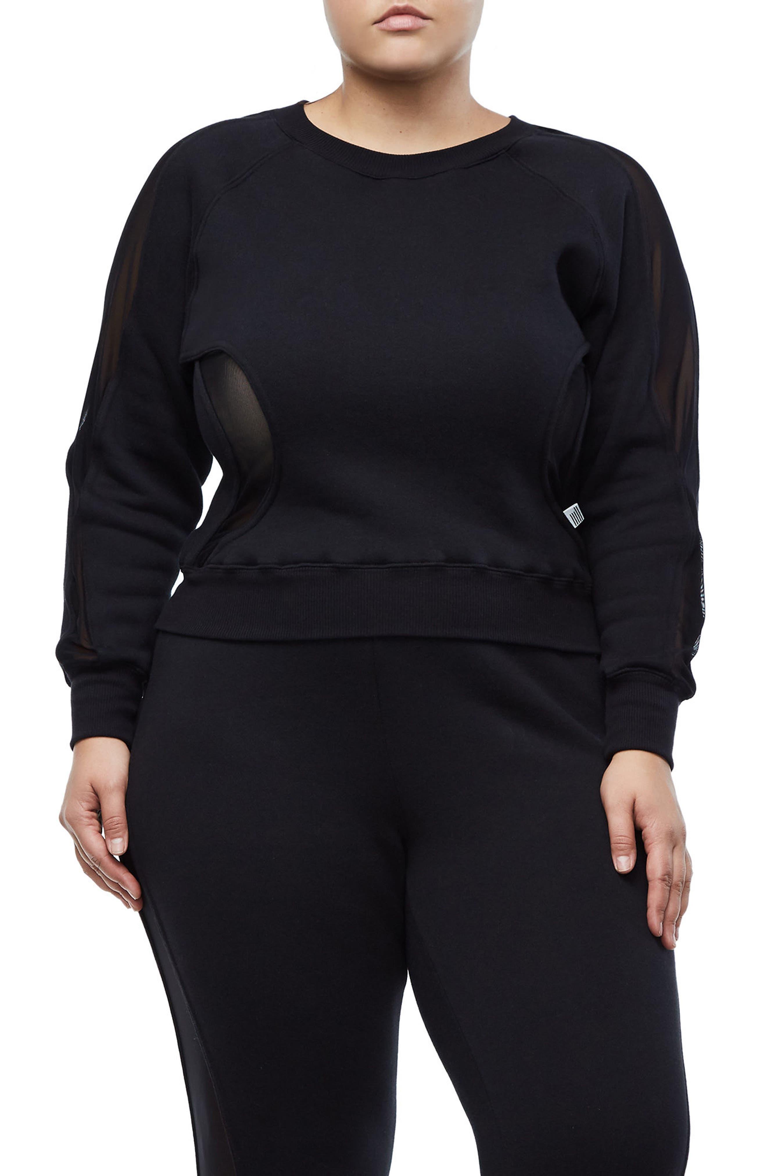 Good Sweats Mesh Inset Sweatshirt,                             Alternate thumbnail 2, color,                             Good Black