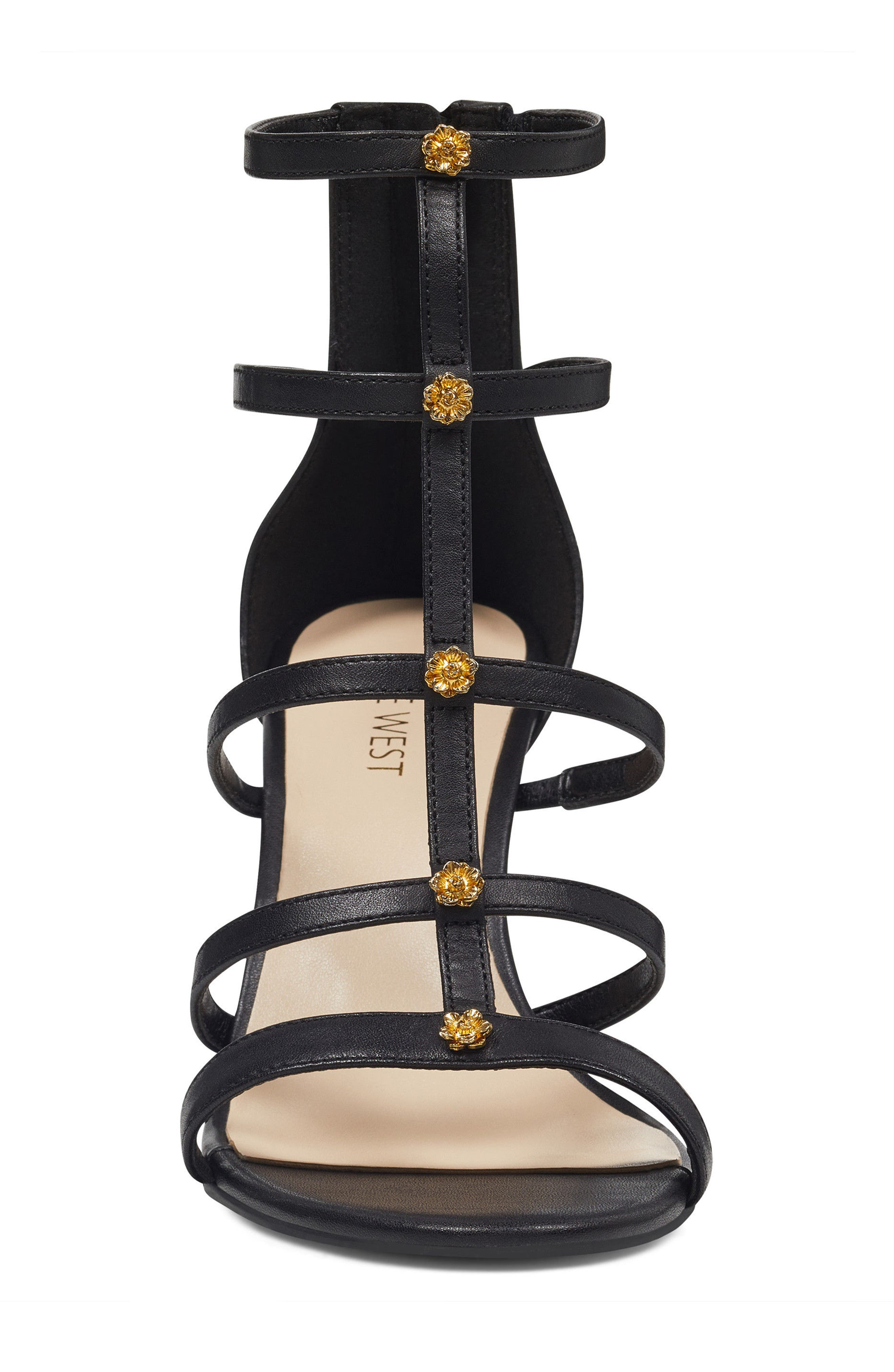 Nayler Strappy Sandal,                             Alternate thumbnail 4, color,                             Black Leather