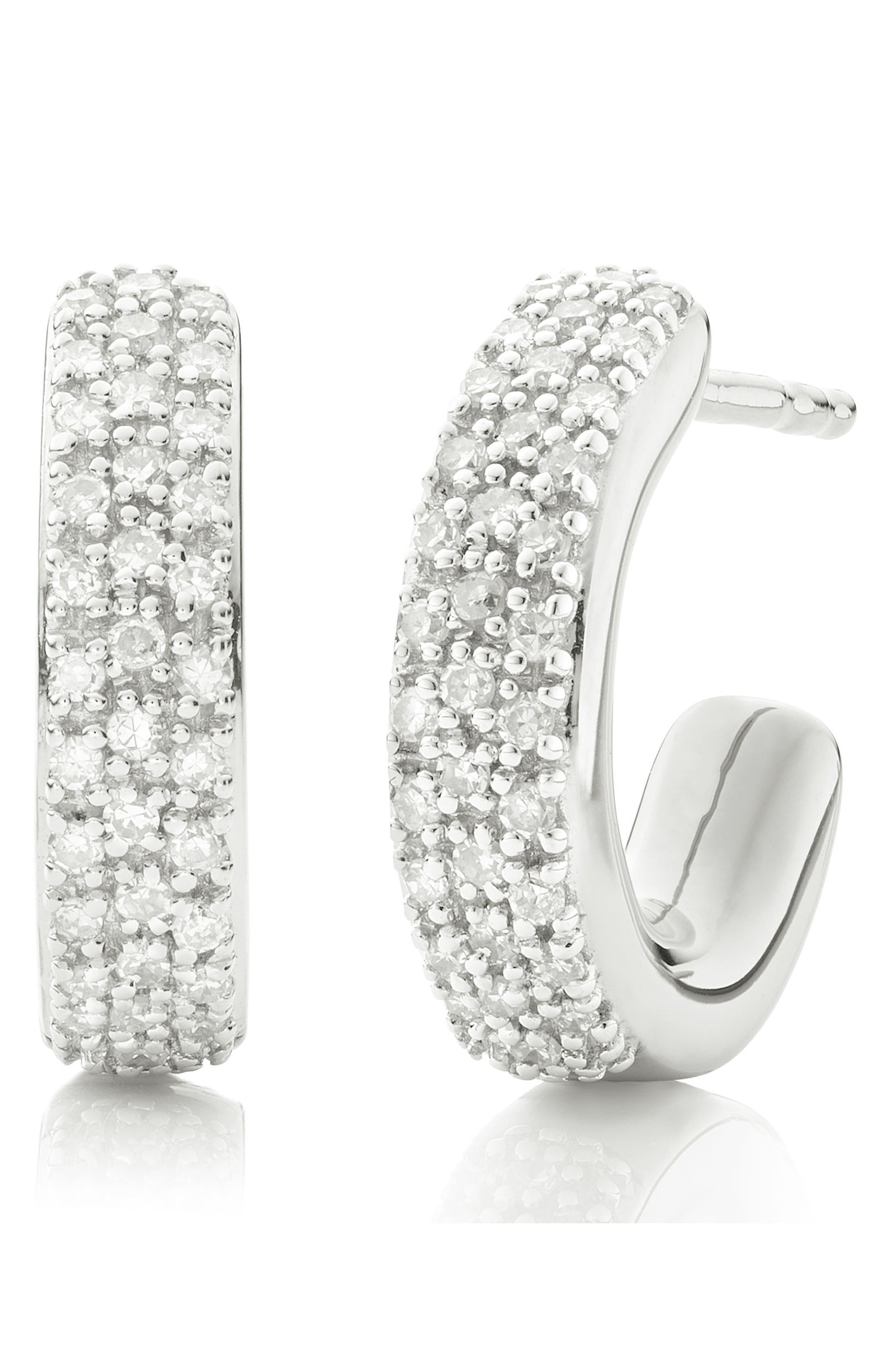 Fiji Mini Diamond Hoop Earrings,                             Main thumbnail 1, color,                             Silver