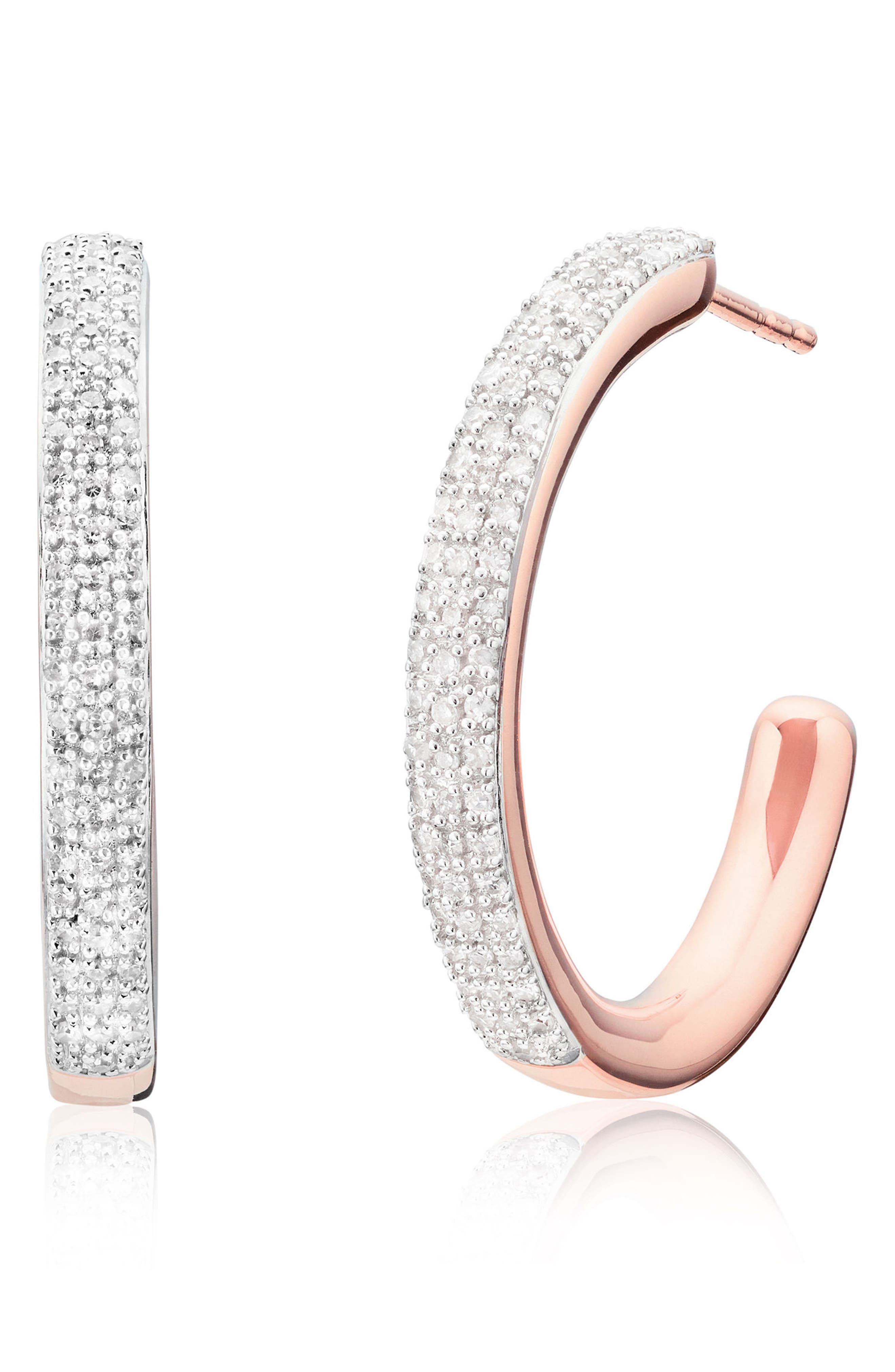 Fiji Large Diamond Hoop Earrings,                             Main thumbnail 1, color,                             Rose Gold