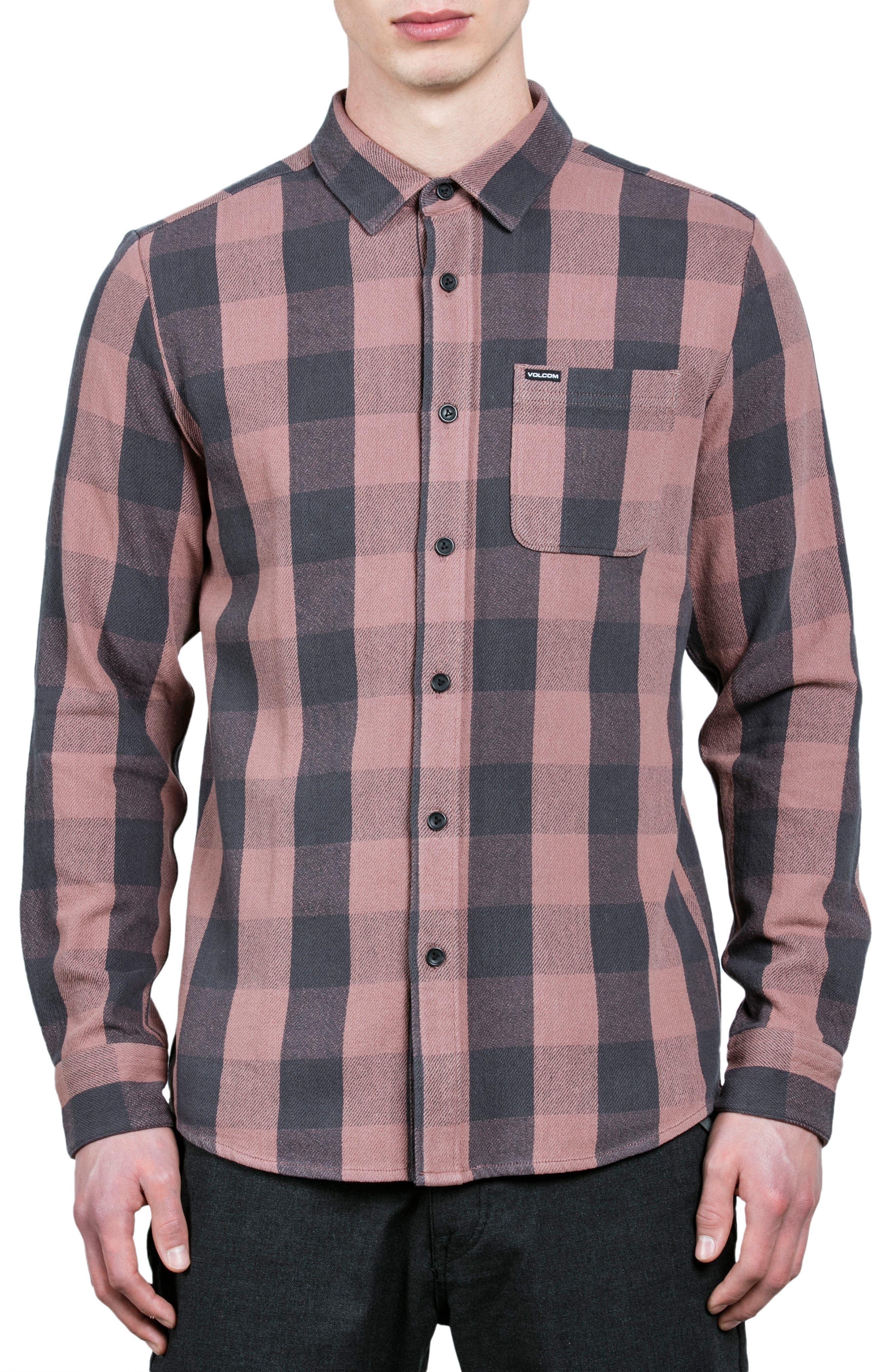 Invert Check Flannel Shirt,                             Main thumbnail 1, color,                             Brown