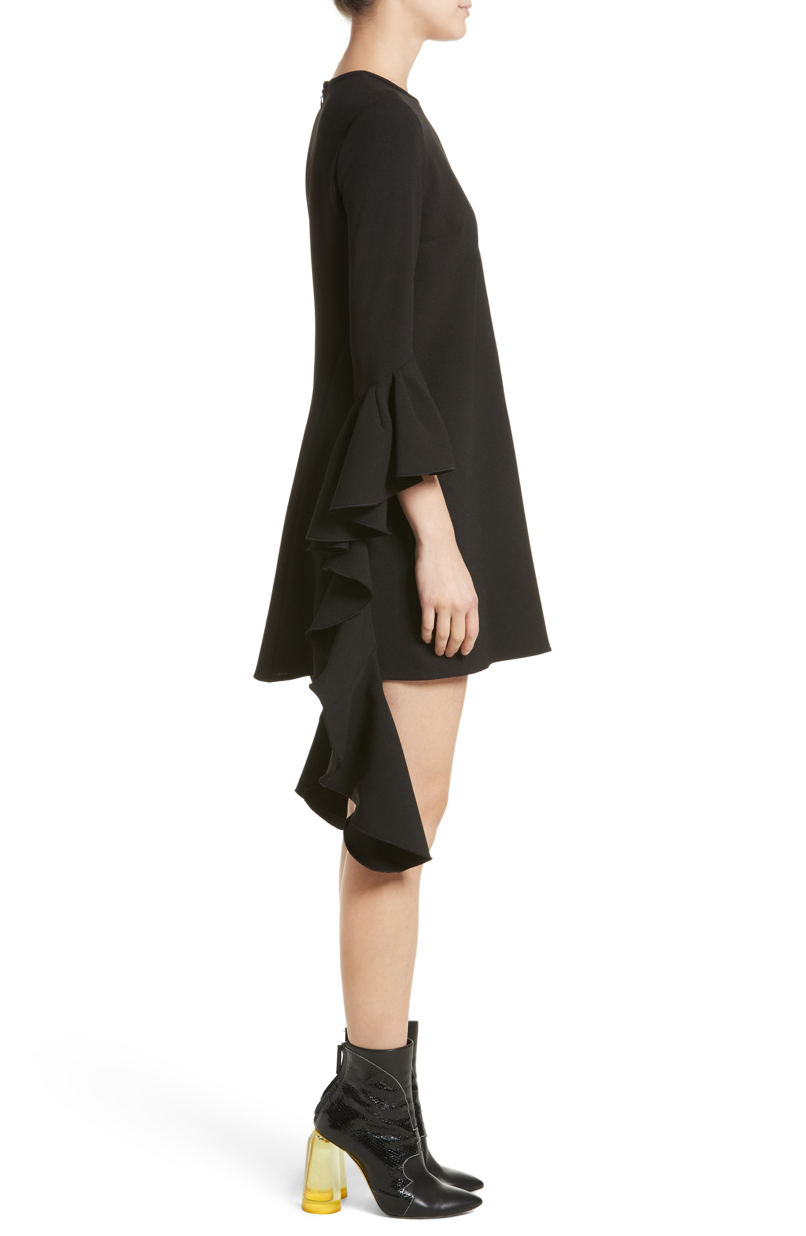 Kilkenny Frill Sleeve Minidress,                             Alternate thumbnail 3, color,                             Black