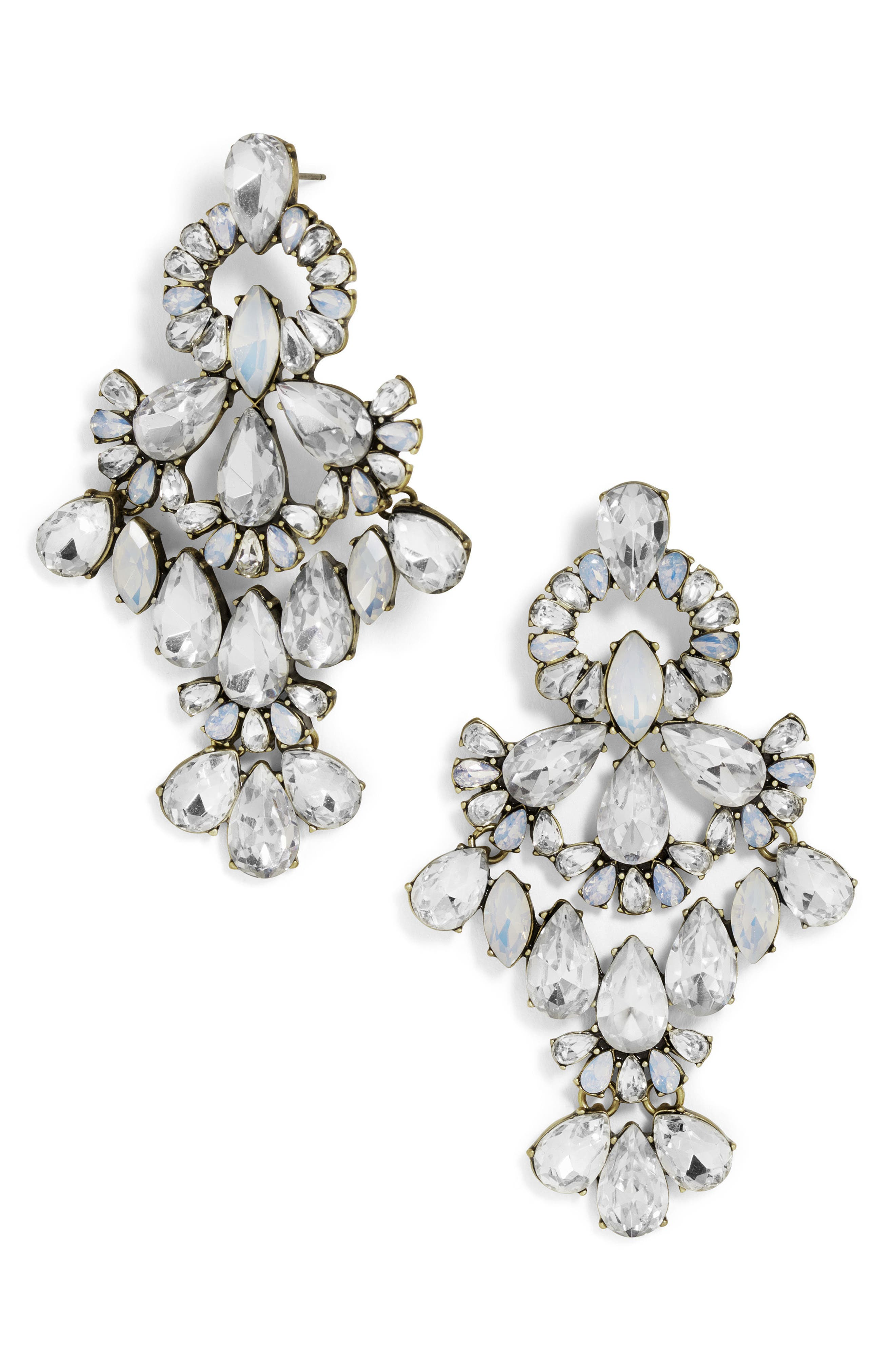 Symphony Crystal Statement Earrings,                         Main,                         color, Antique Silver