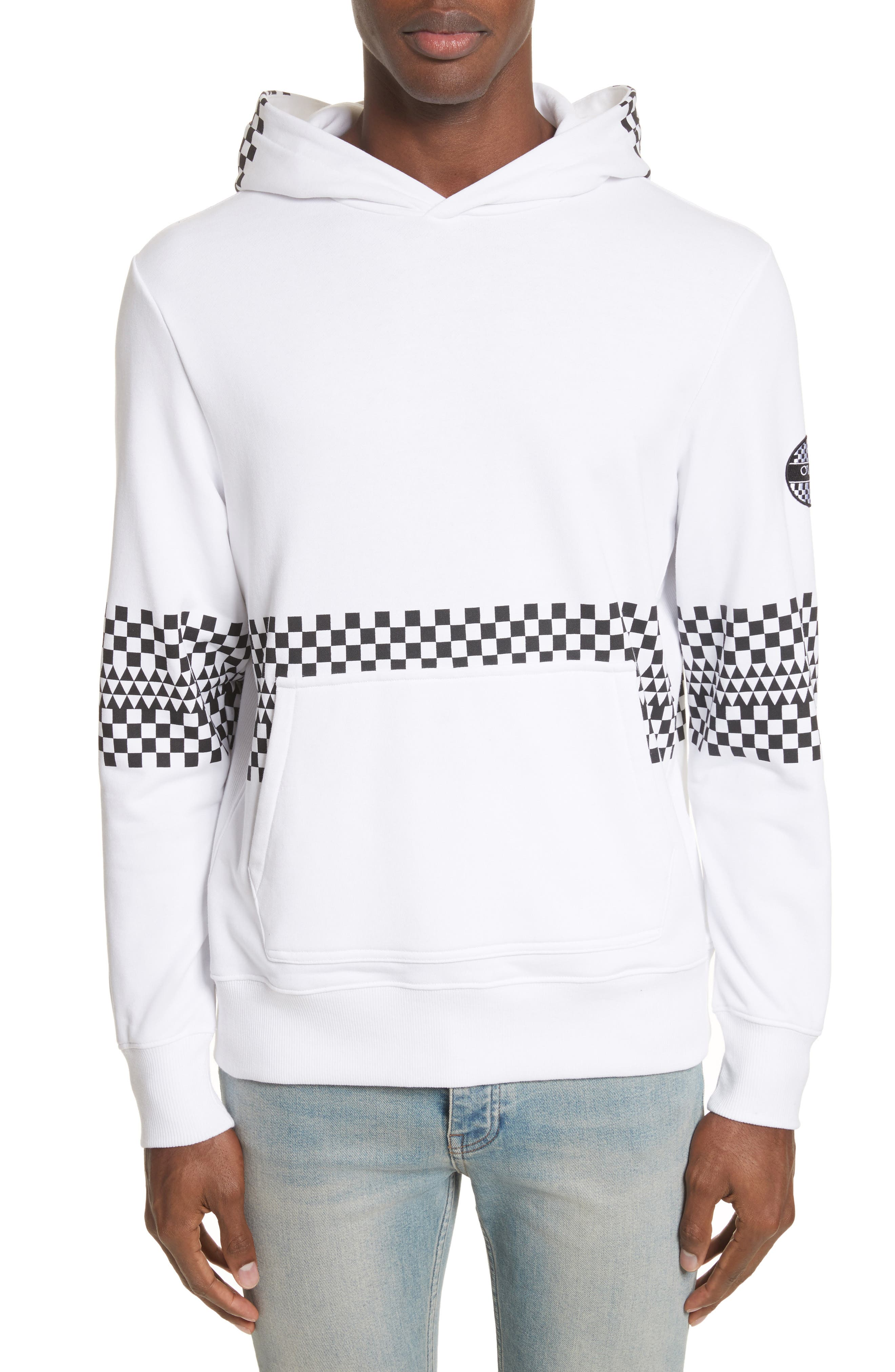 Type-01 Check Print Hoodie,                         Main,                         color, White/ Black