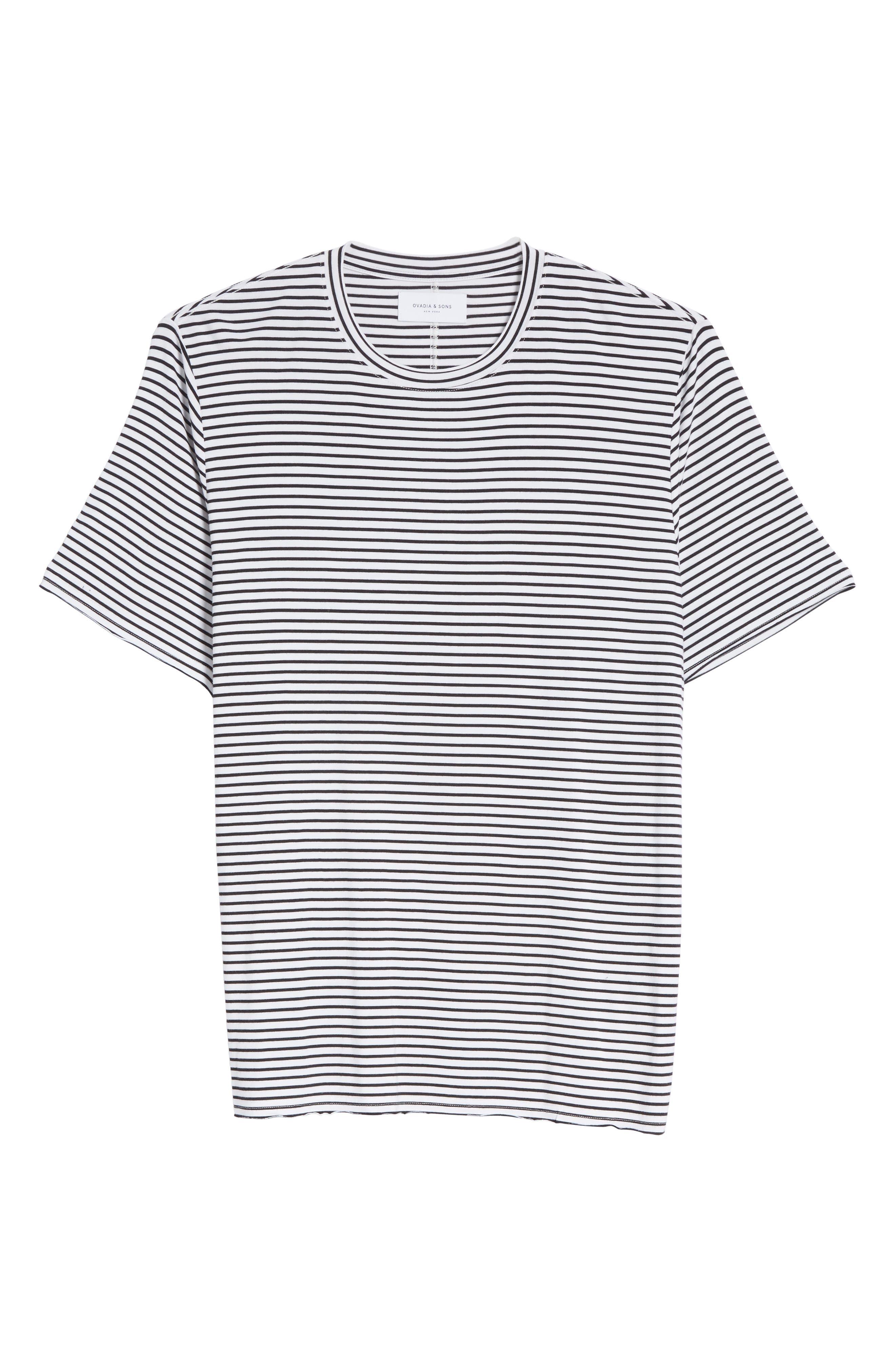 Raw Edge Stripe T-Shirt,                             Alternate thumbnail 6, color,                             Black/ White
