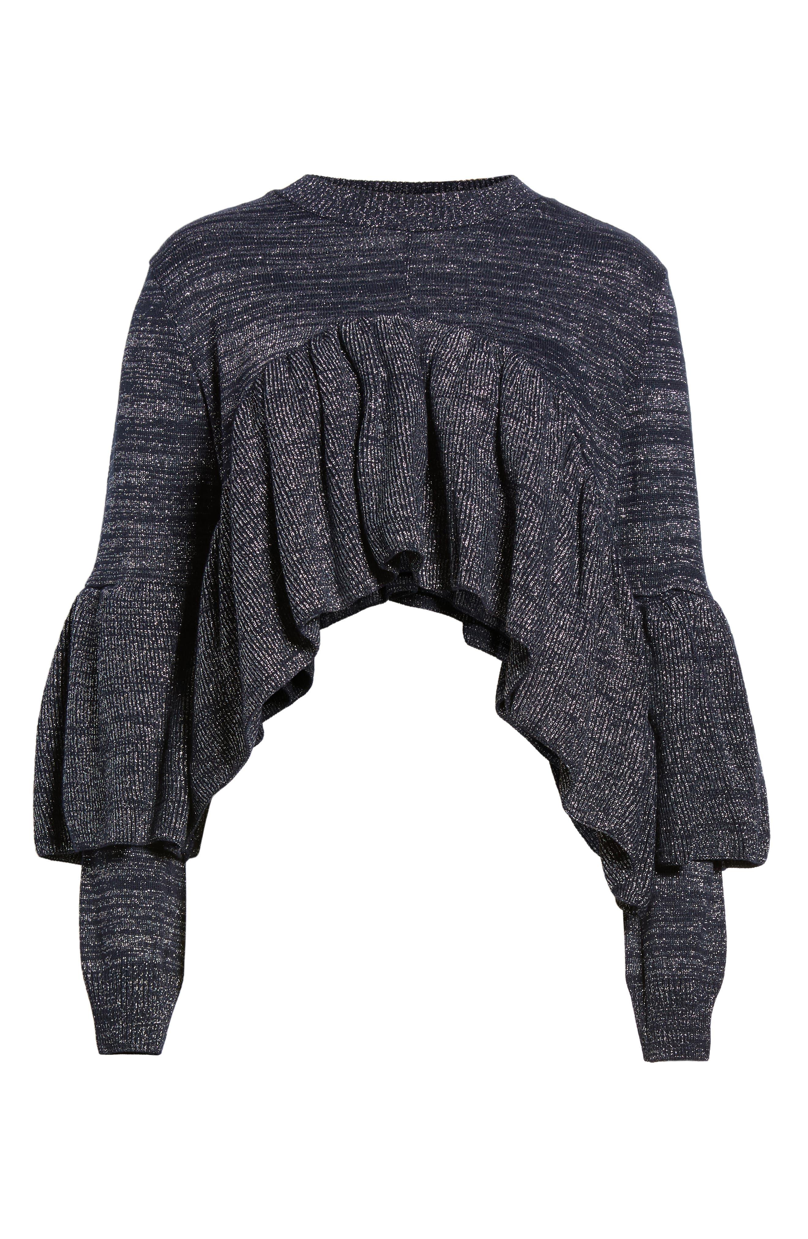 Ruffle Sweater,                             Alternate thumbnail 7, color,                             Navy