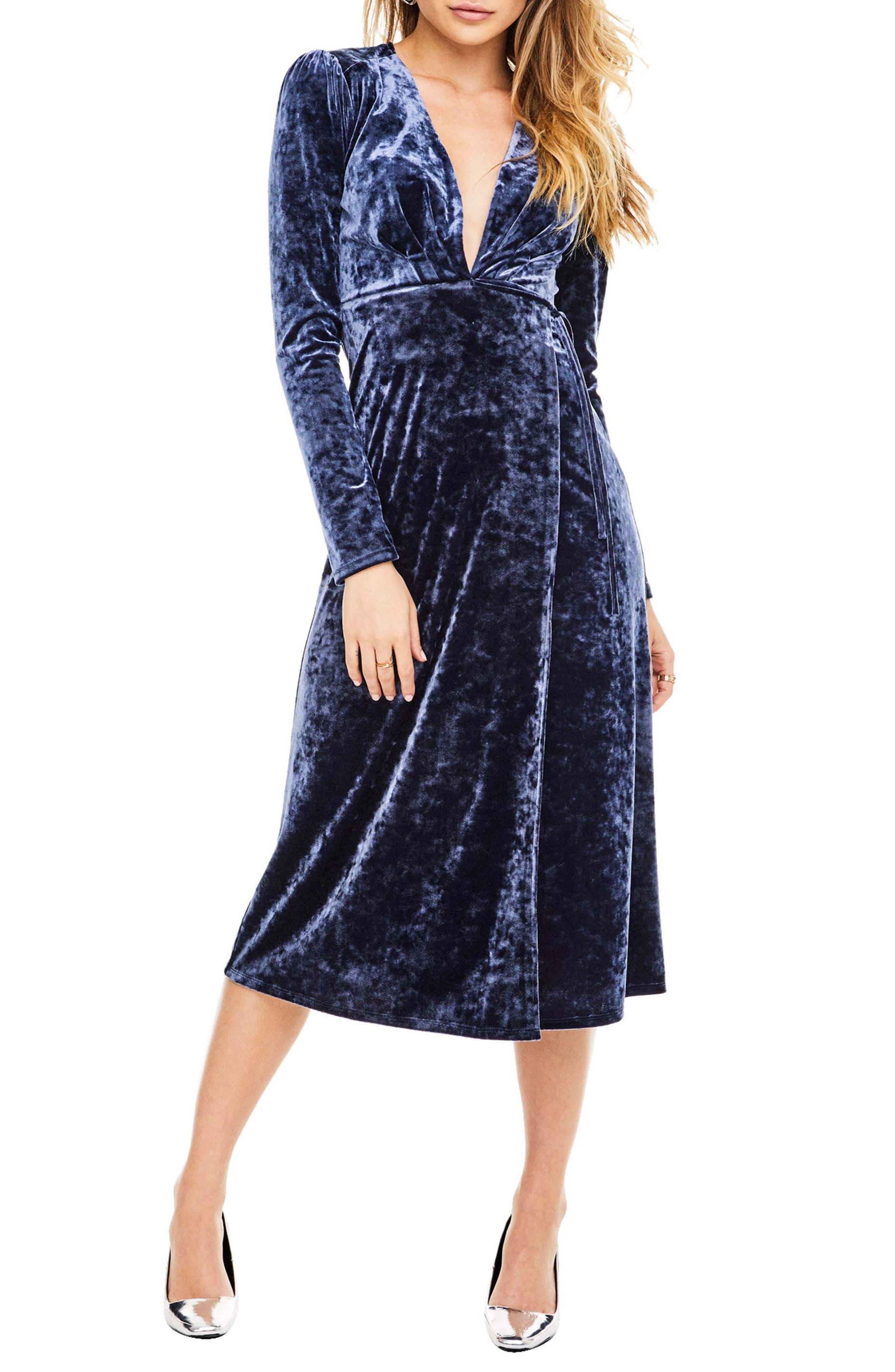 Georgette Wrap Dress,                             Main thumbnail 1, color,                             Sapphire