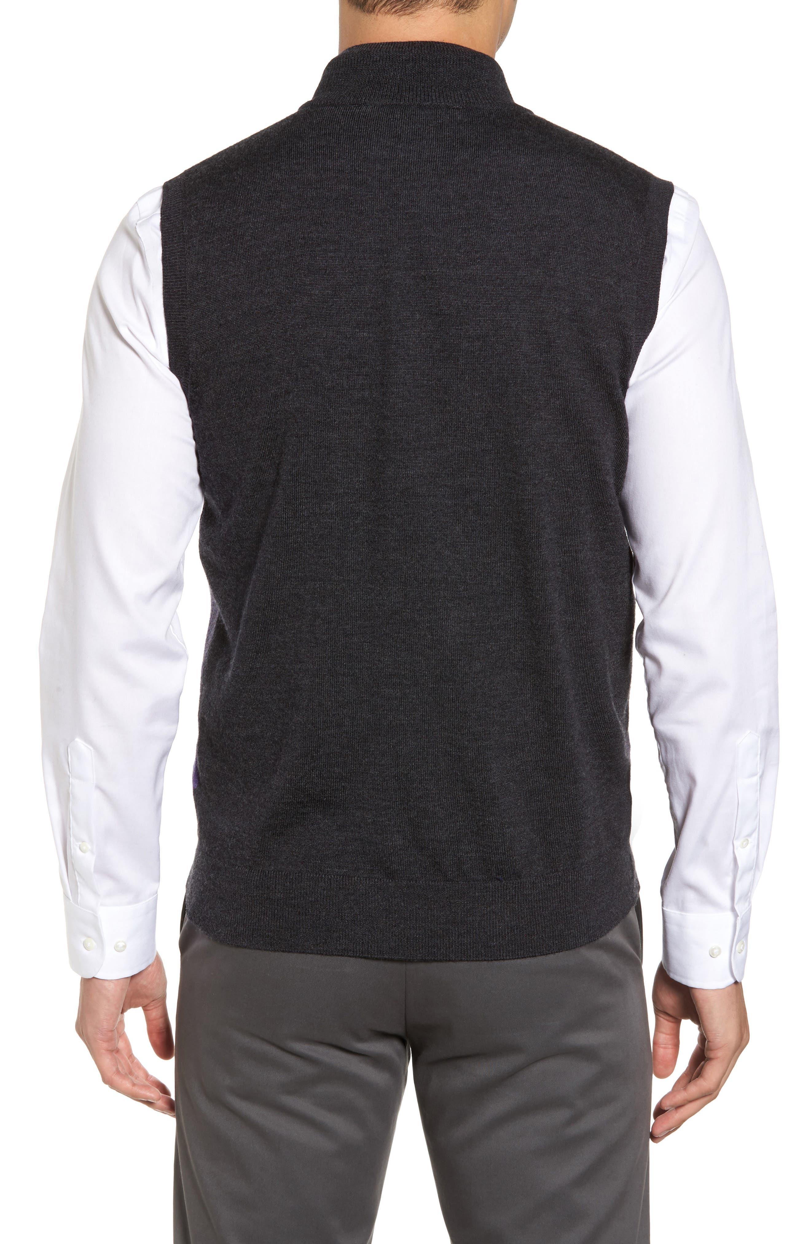 Oversize Plaid Wool Vest,                             Alternate thumbnail 2, color,                             Heather Grey