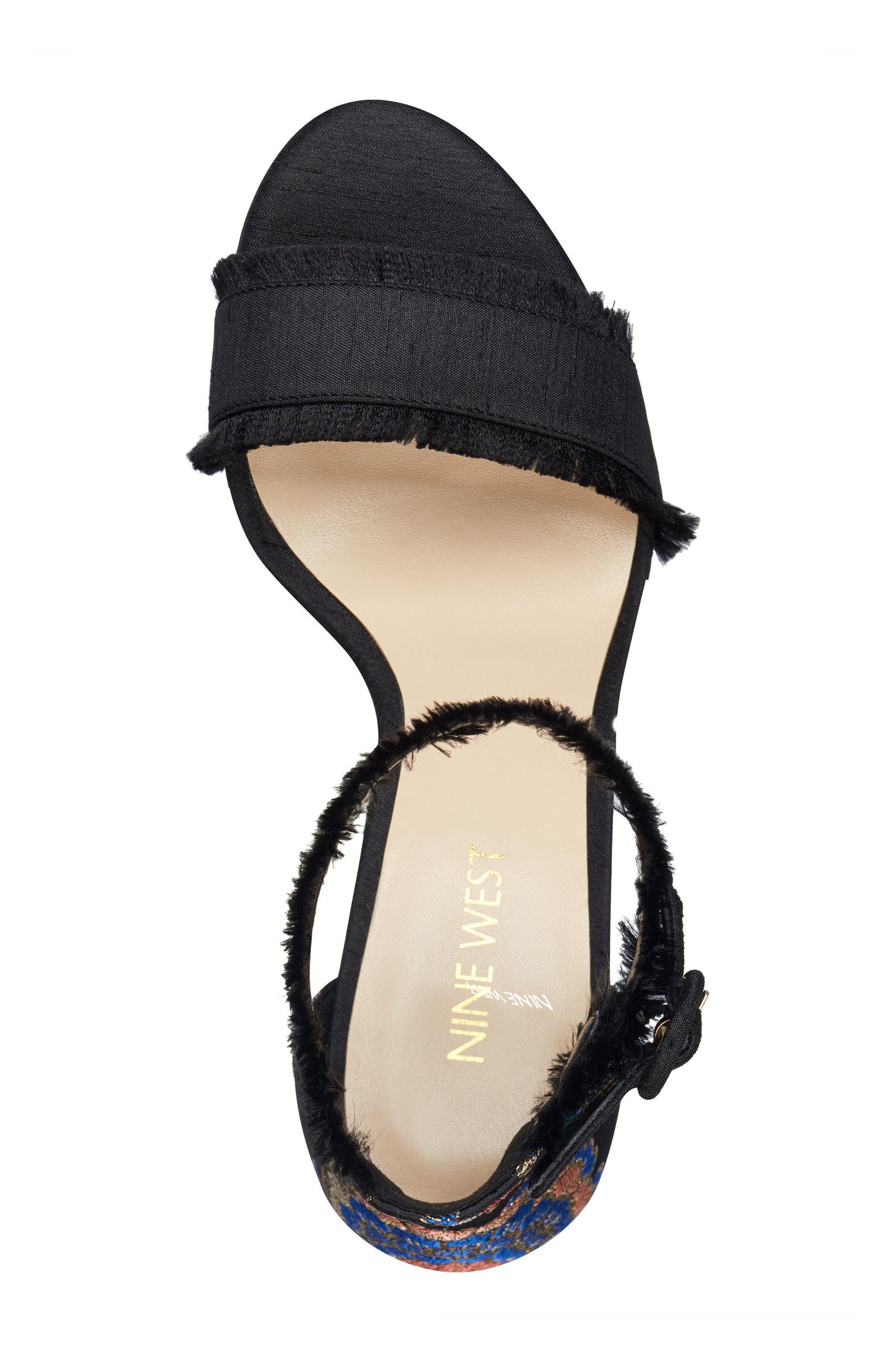 Daranita Ankle Strap Sandal,                             Alternate thumbnail 5, color,                             Black/ Black Multi Fabric
