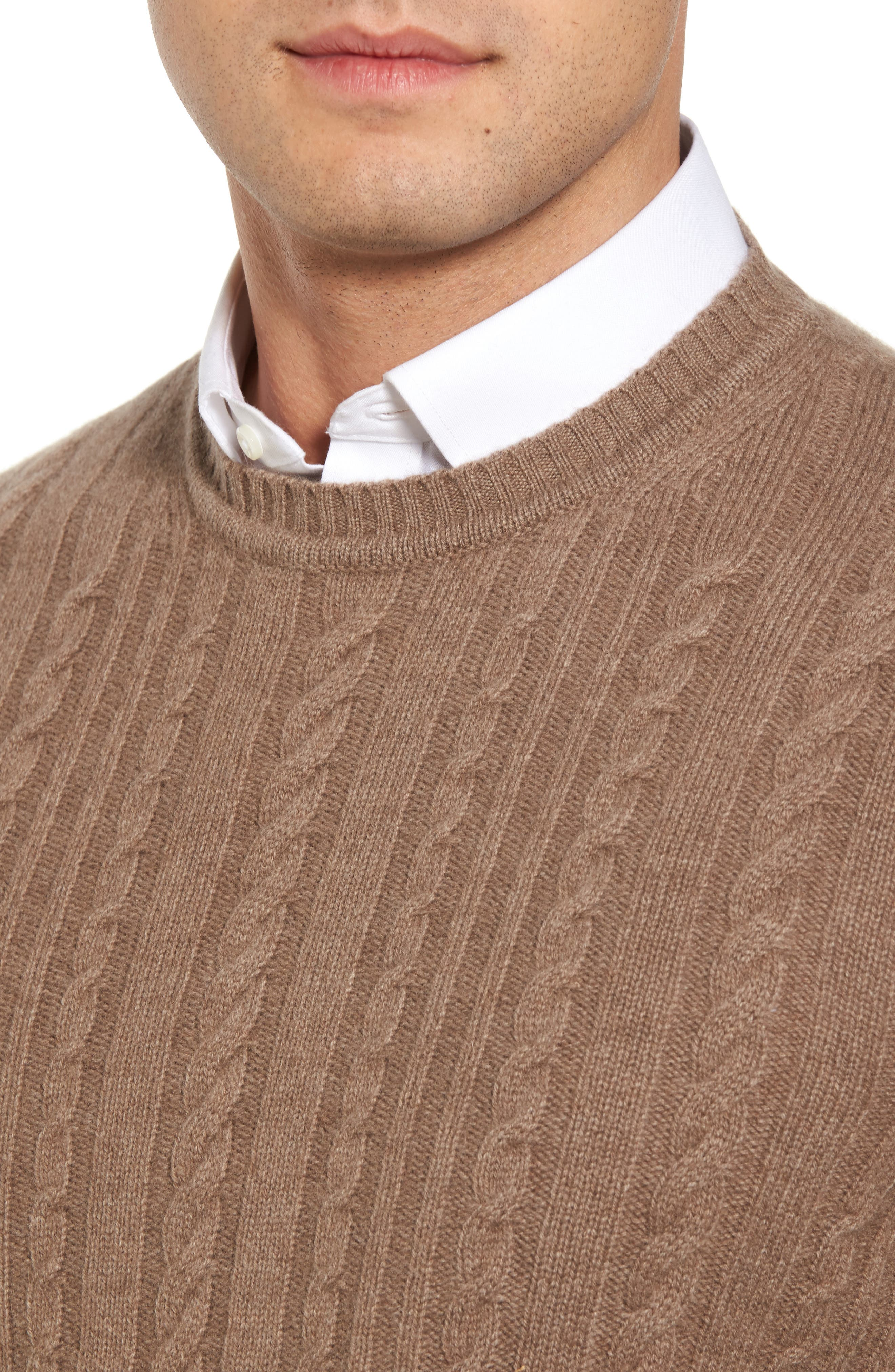 Alternate Image 4  - David Donahue Cable Knit Cashmere Sweater