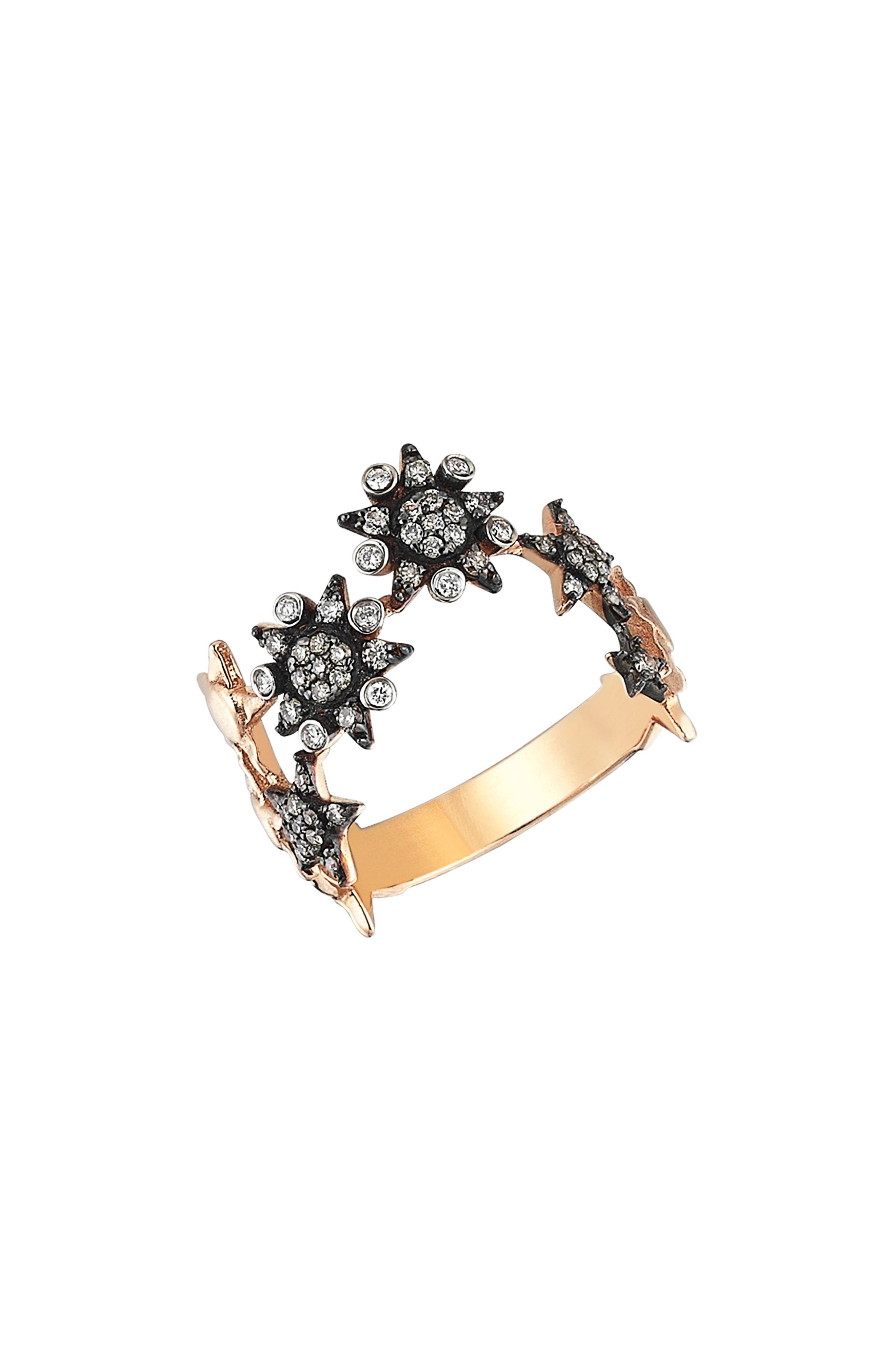 Eclectic Star Diamond Ring,                             Alternate thumbnail 2, color,                             Rose Gold