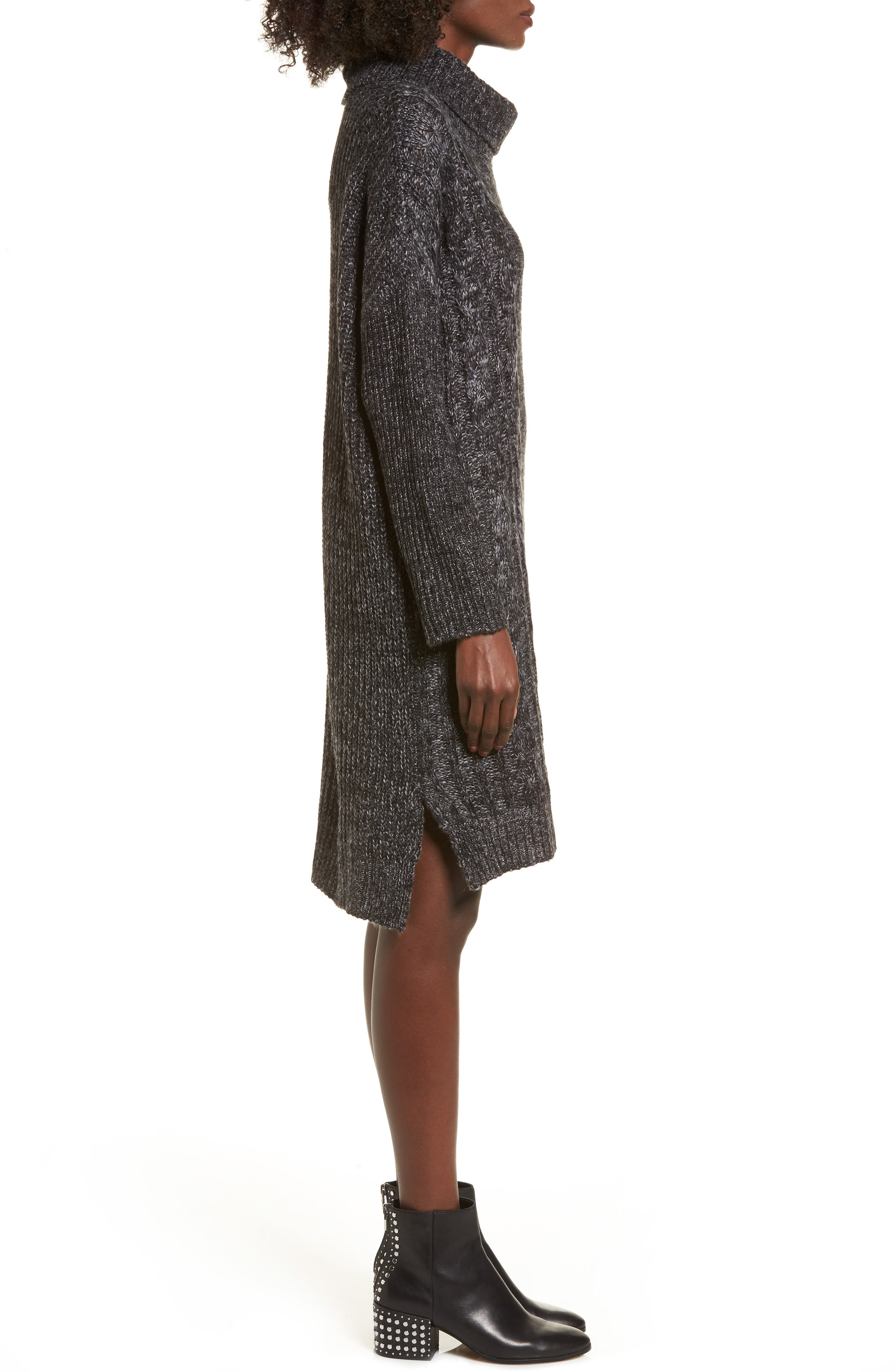 Chunky Turtleneck Sweater Dress,                             Alternate thumbnail 3, color,                             Charcoal