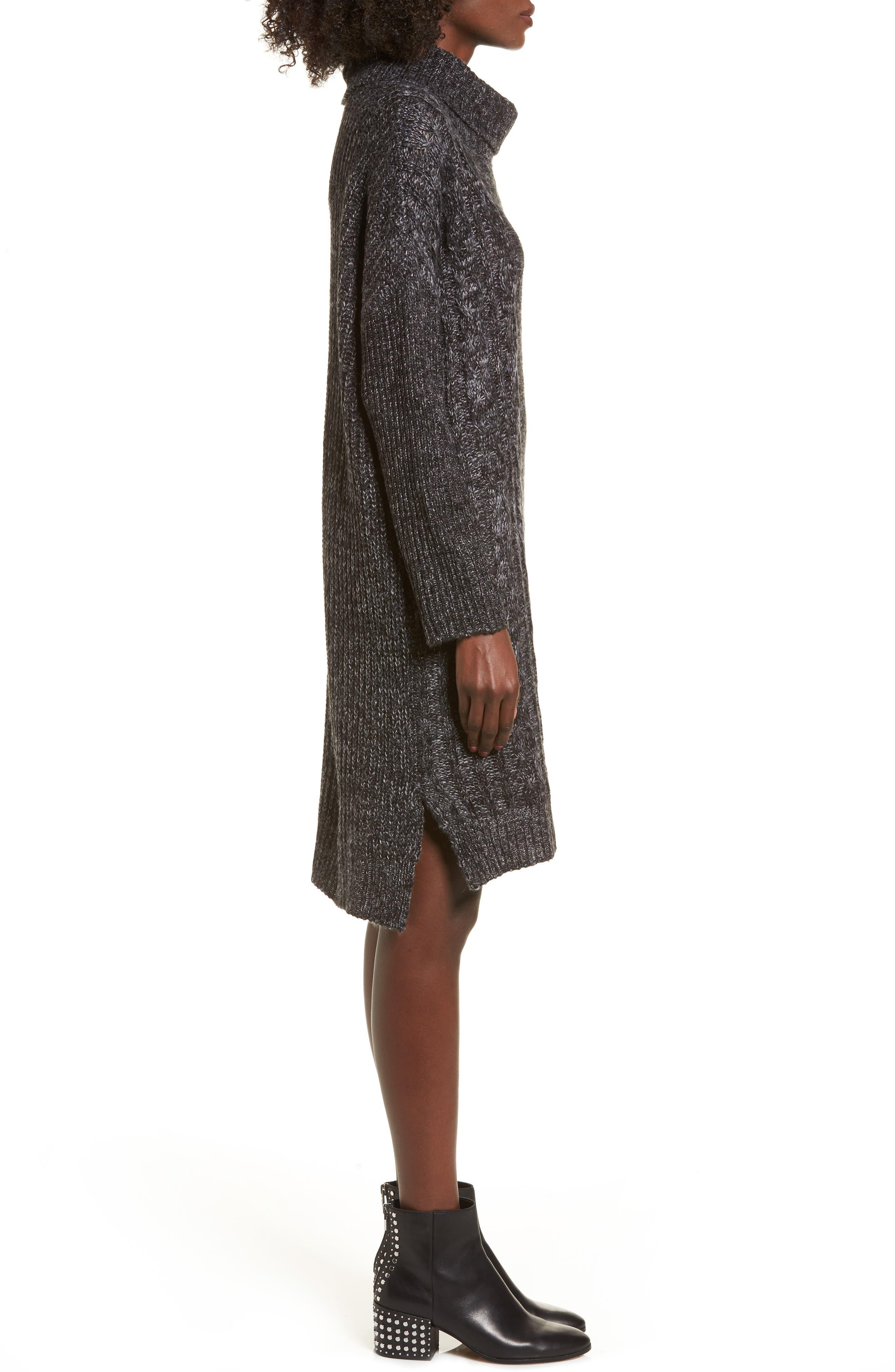 Alternate Image 3  - Cotton Emporium Chunky Turtleneck Sweater Dress