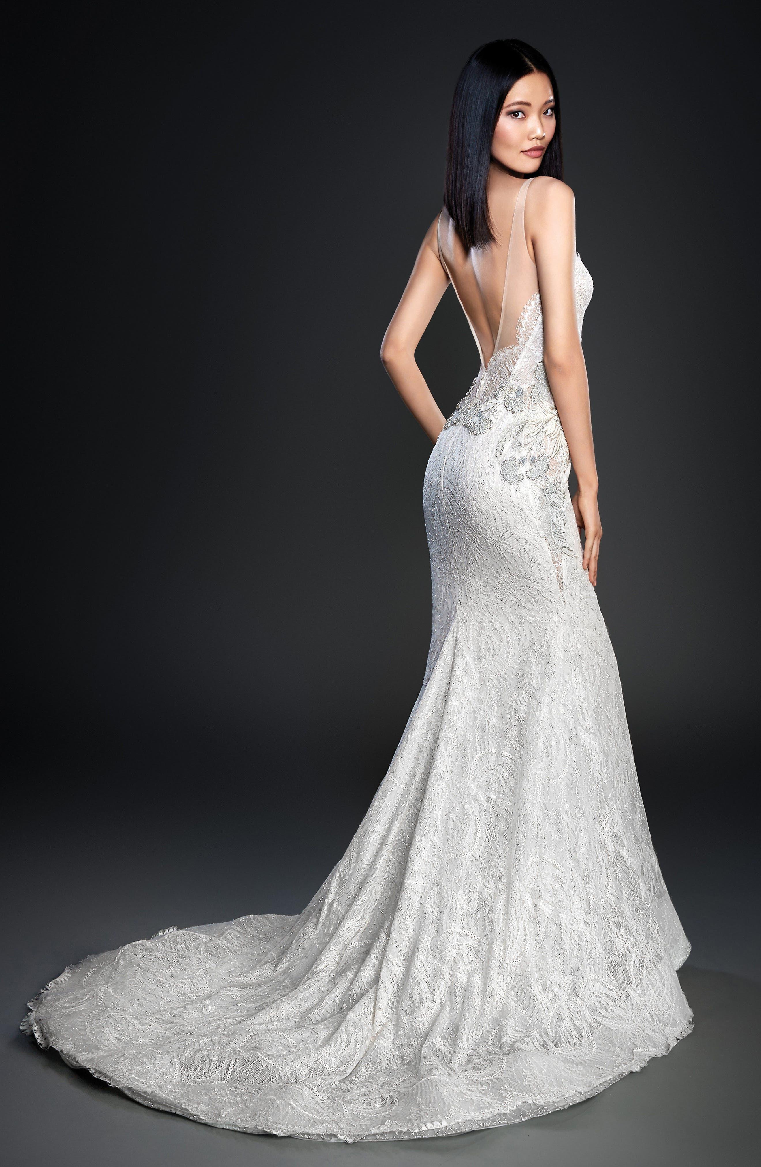 Alternate Image 3  - Lazaro Glitter Embellished Lace Gown