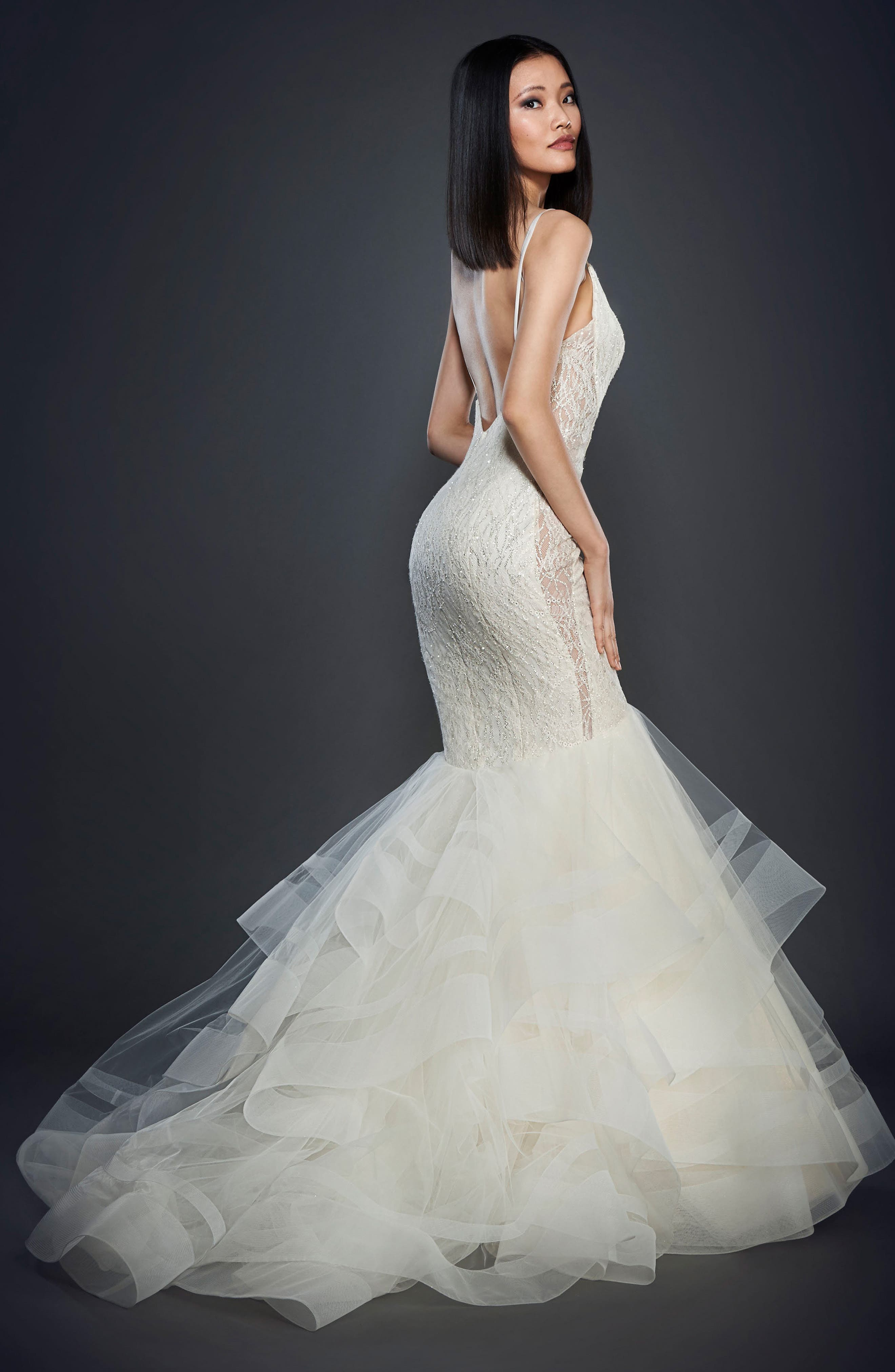 Glitter Embellished Lace Mermaid Gown,                             Alternate thumbnail 3, color,                             Ivory
