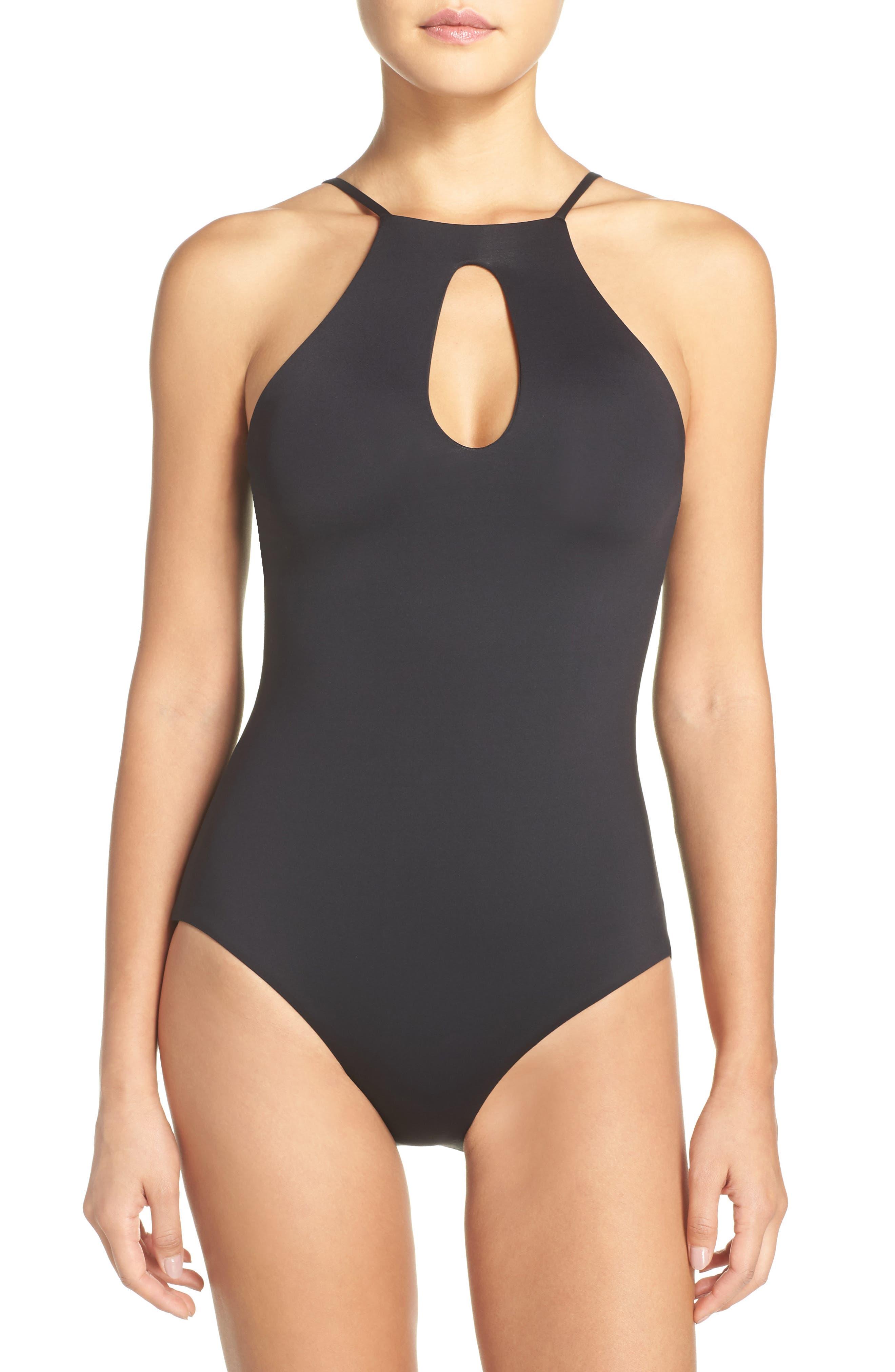 Color Code One-Piece Swimsuit,                             Main thumbnail 1, color,                             Black